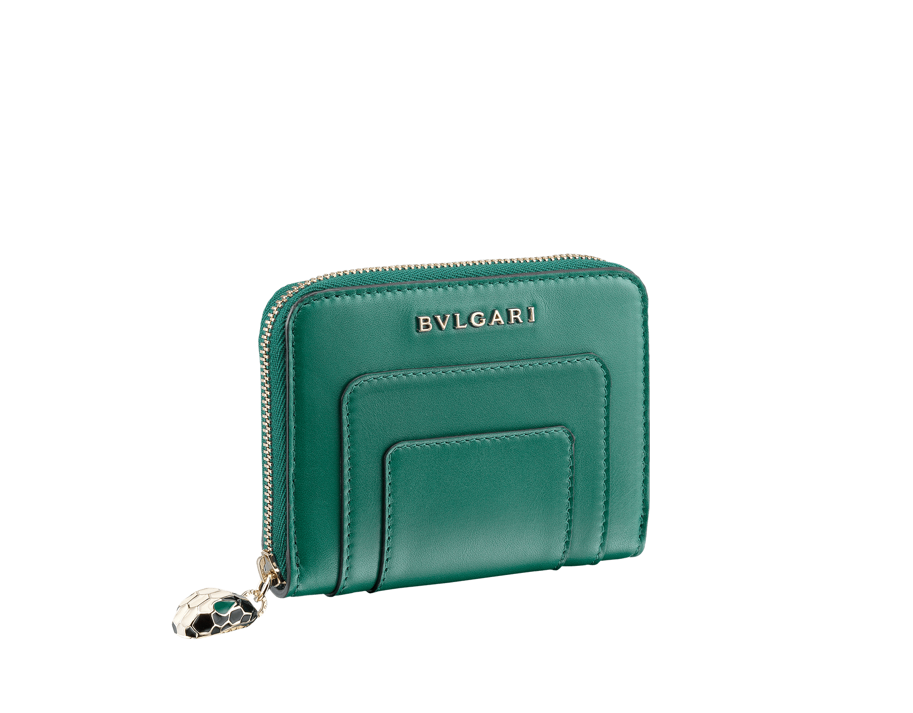 Serpenti Forever mini zipped wallet in cobalt tourmaline and aster amethyst calf leather. Iconic snakehead zip puller in black and white enamel, with green enamel eyes SEA-WLT-MINI-ZIP-CLc image 1