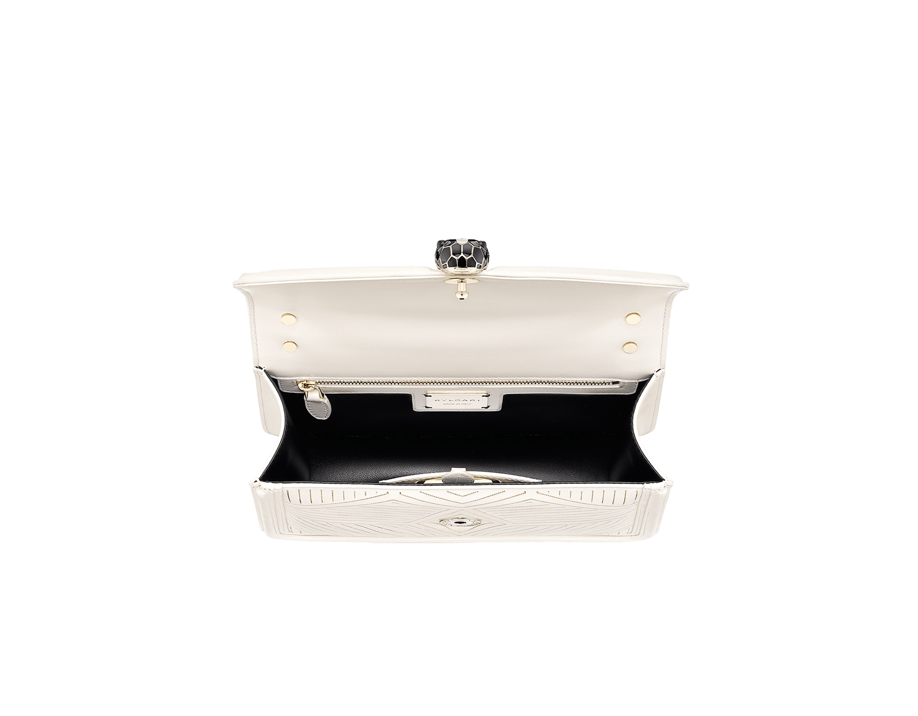 """Serpenti Diamond Blast"" shoulder bag in white agate calf leather, featuring a Whispy Chain motif in light gold finishing. Iconic snakehead closure in light gold plated brass enriched with black and white agate enamel and black onyx eyes. 922-WC image 4"