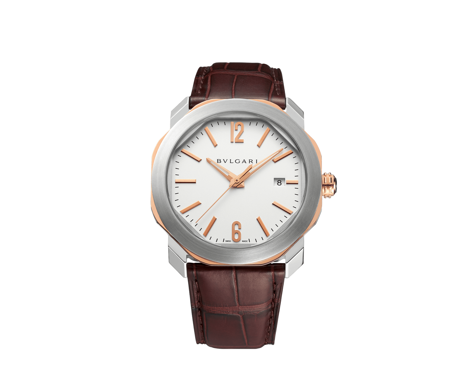 Octo Roma watch with mechanical manufacture movement, automatic winding, case in stainless steel and 18 kt rose gold, silver dial and brown alligator bracelet. 102703 image 1