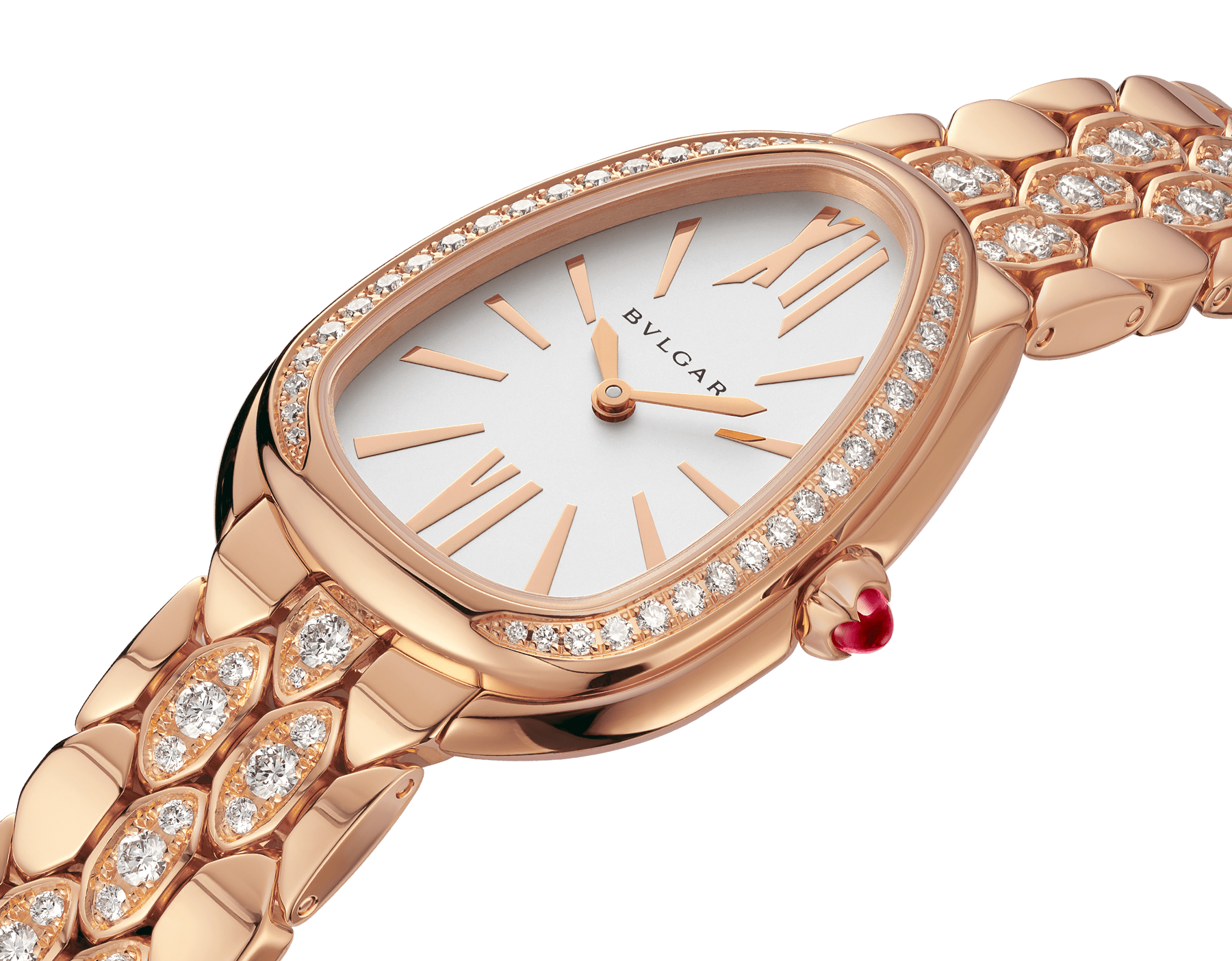 Serpenti Seduttori watch with 18 kt rose gold case and bracelet both set with diamonds, and white dial 103275 image 2