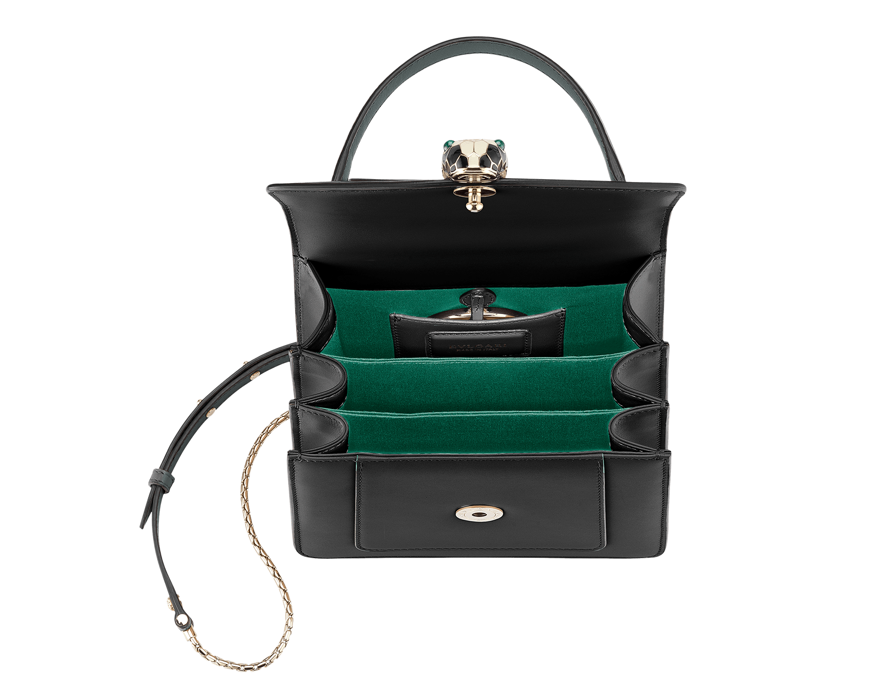 Flap cover bag Serpenti Forever in black calf leather and jade green gros-grain lining.Brass light gold plated hardware and snake head closure in black and white enamel with eyes in green malachite. 284537 image 4