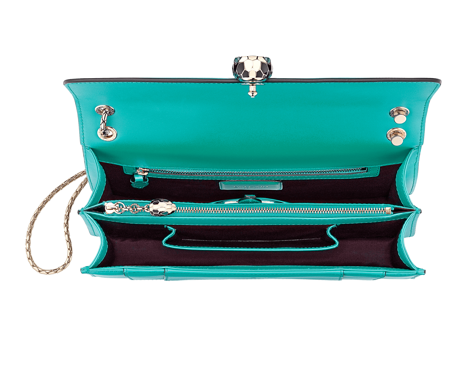 Serpenti Forever shoulder bag in tropical turquoise smooth calf leather. Snakehead closure in light gold plated brass decorated with black and white enamel, and green malachite eyes. 287931 image 4