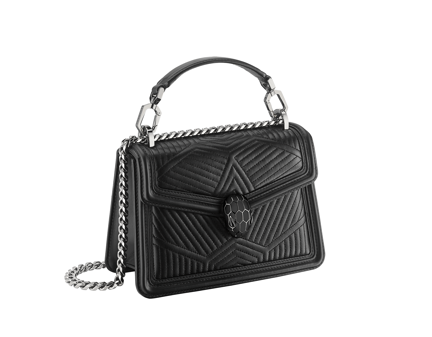 """Serpenti Diamond Blast"" crossbody bag in white agate quilted nappa leather and berry tourmaline smooth calf leather frames. Tempting snakehead closure in light gold-plated brass enhanced with matte black and shiny berry tourmaline enamel and black onyx eyes. 1063-FQDa image 2"