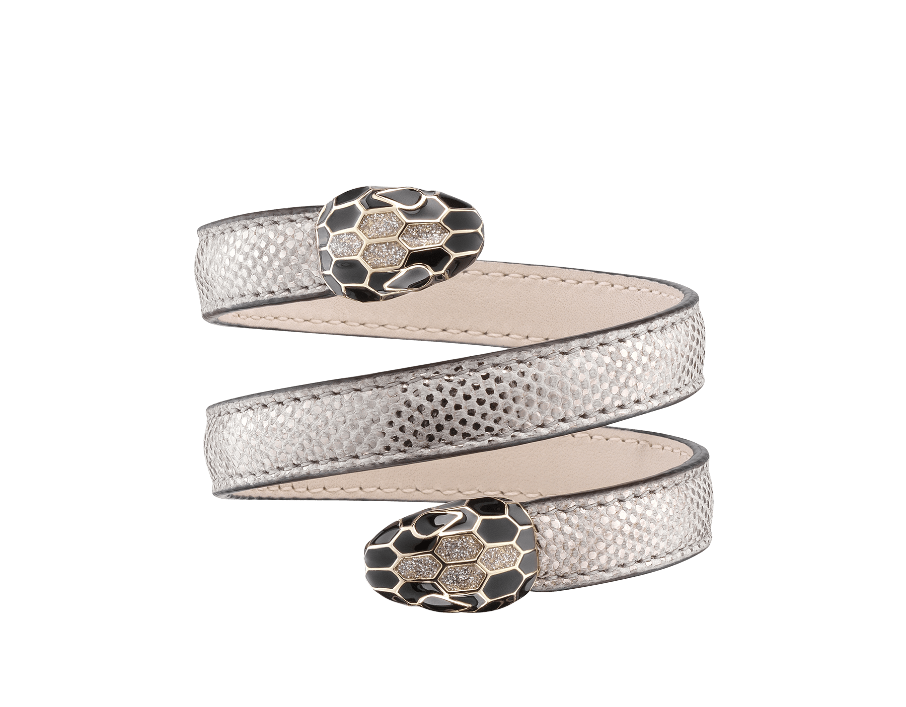 Multi-coiled rigid Cleopatra bracelet in silver metallic karung skin, with brass light gold plated hardware. Double tempting Serpenti head finished in black and glitter silver enamel, with eyes in black enamel. 285665 image 1