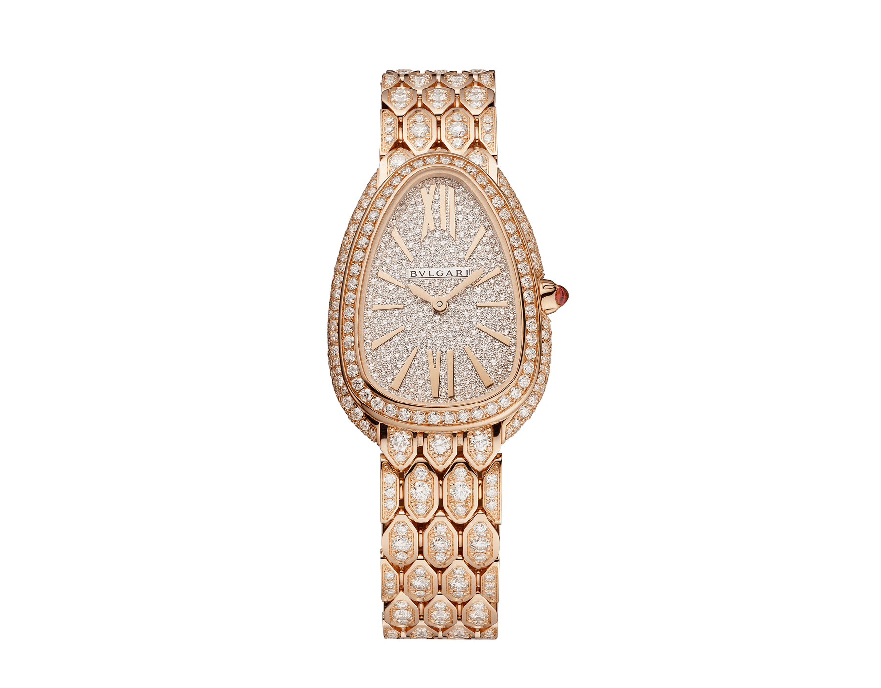 Serpenti Seduttori watch with 18 kt rose gold case and bracelet both set with diamonds, and full pavé dial 103160 image 1