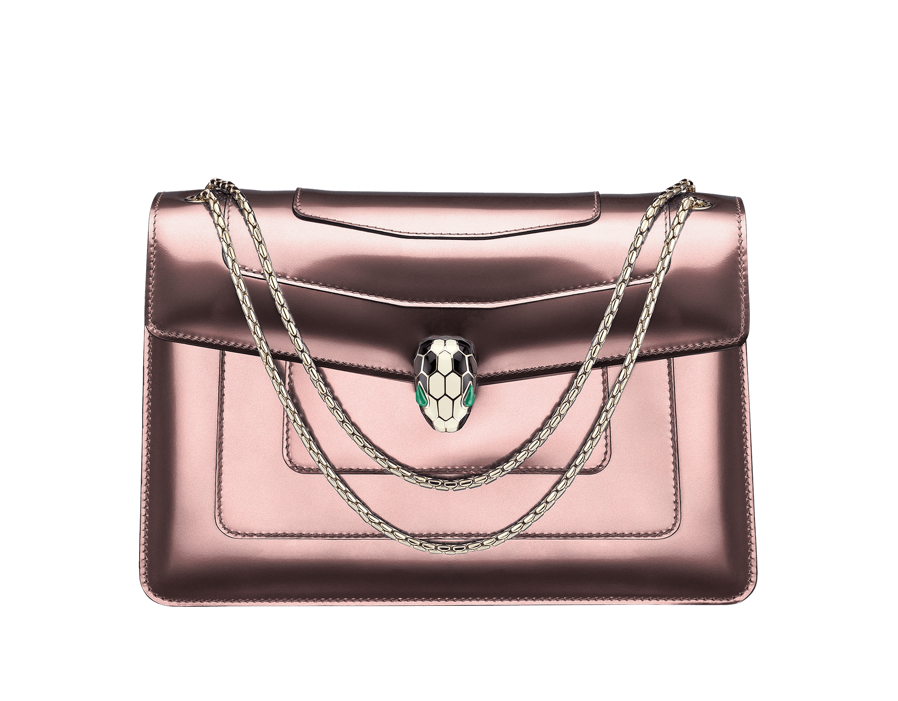Flap cover bag Serpenti Forever in rose quartz brushed metallic calf leather. Brass light gold plated snake head closure in black and white enamel, with eyes in green malachite. 284803 image 1
