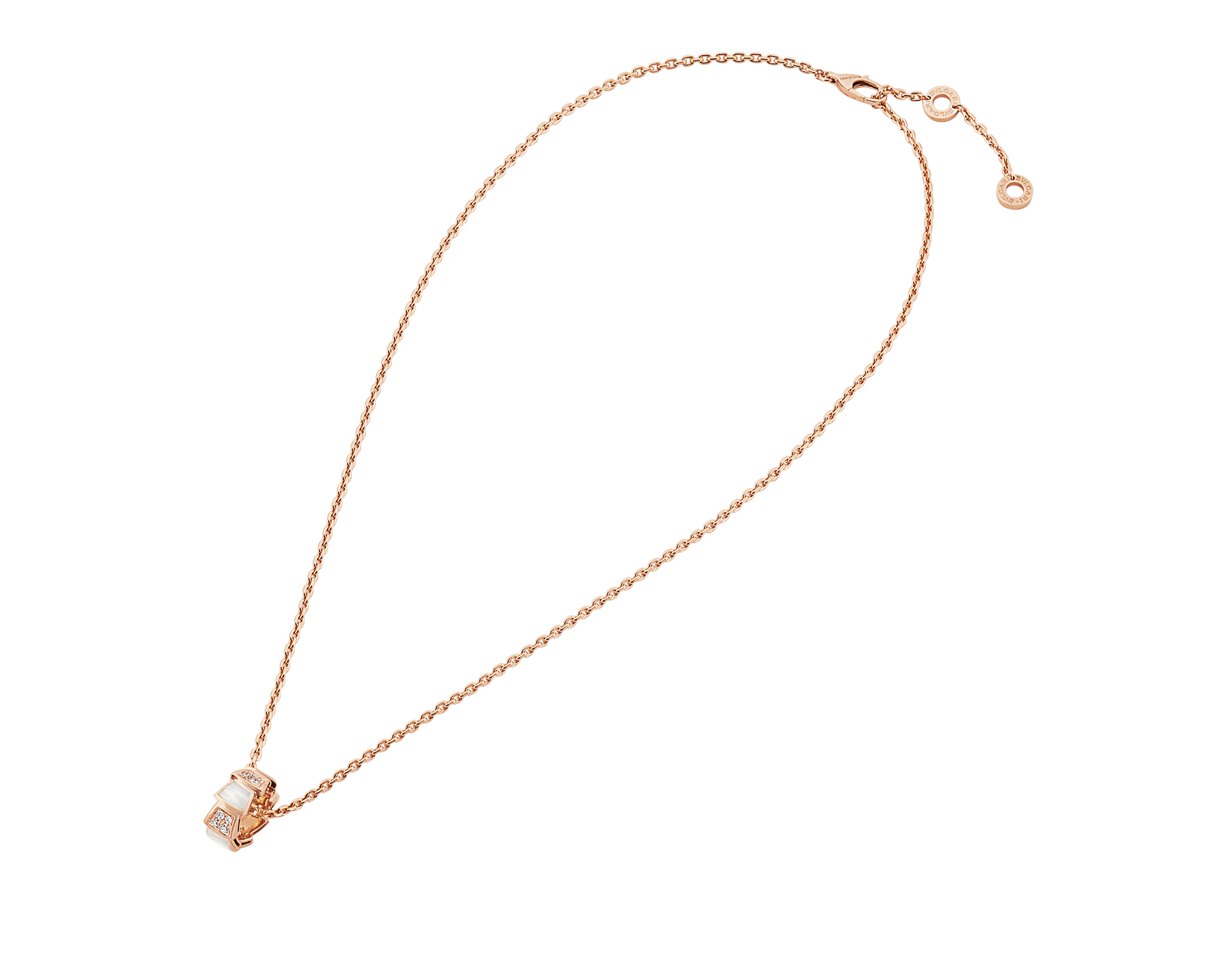 Serpenti Viper 18 kt rose gold necklace set with mother-of-pearl elements and pavé diamonds on the pendant. 357095 image 2