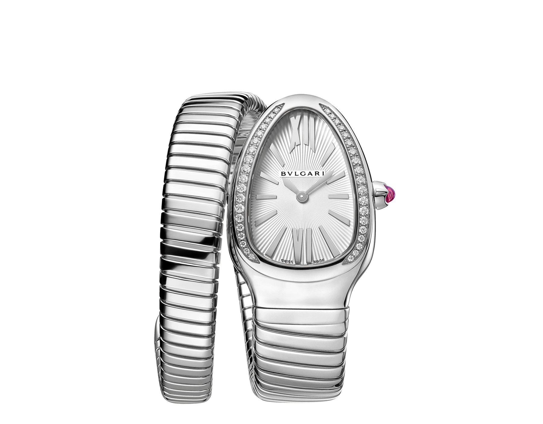 Serpenti Tubogas single spiral watch in stainless steel case and bracelet, bezel set with brilliant cut diamonds and silver opaline dial. Large Size. SrpntTubogas-white-dial2 image 1