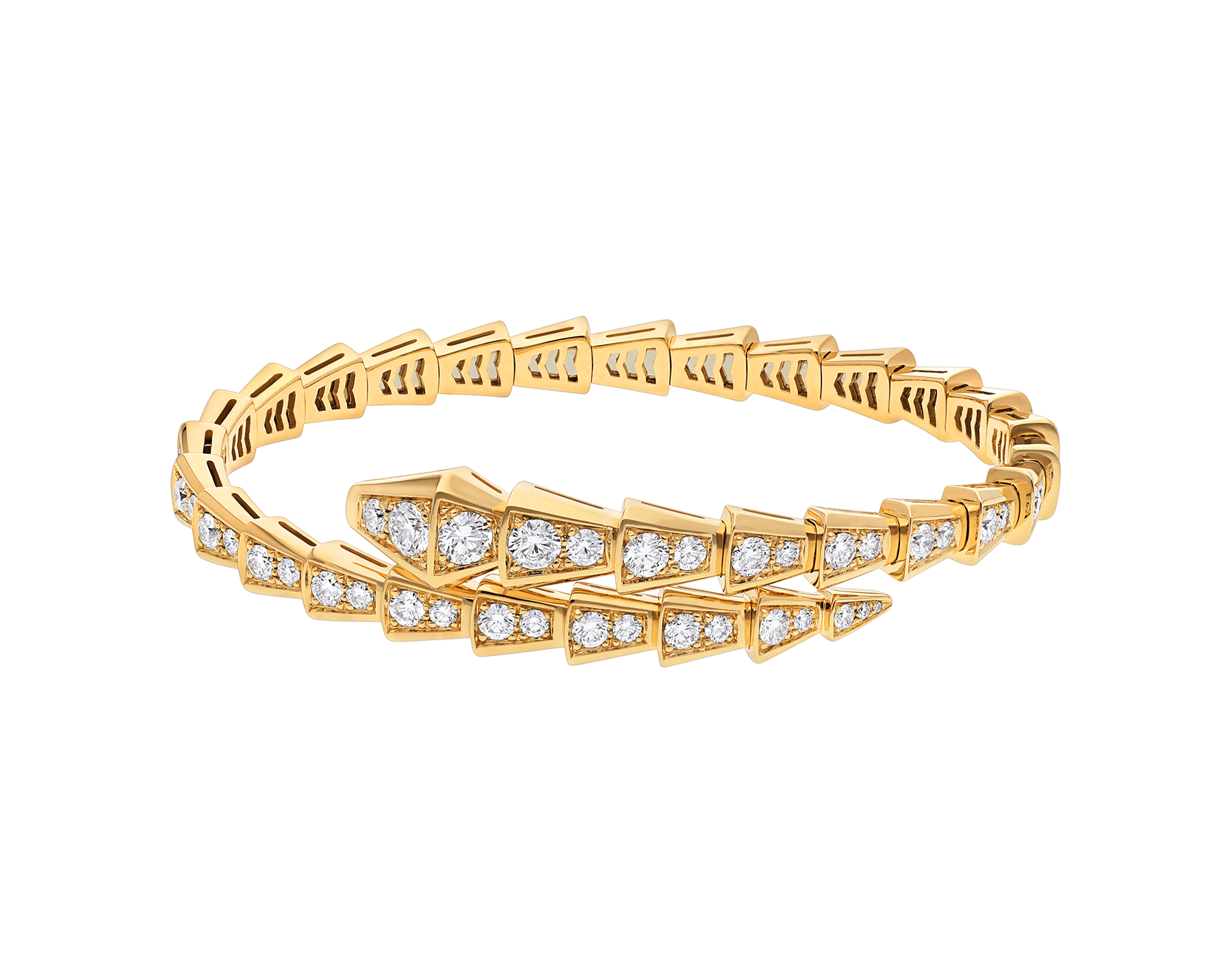 Serpenti Viper 18 kt yellow gold bracelet with pavé diamonds BR858983 image 2