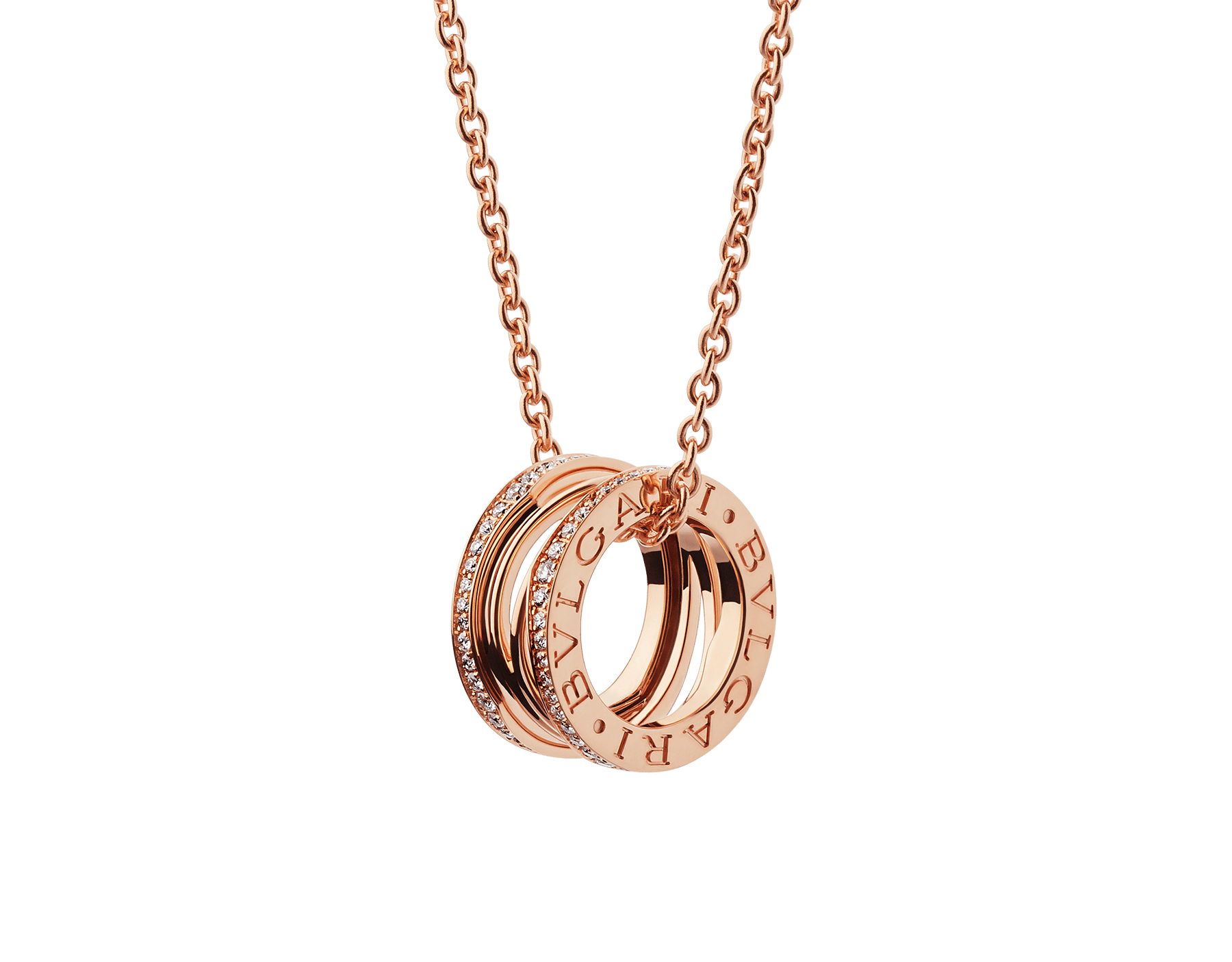 B.zero1 Design Legend pendant in 18 kt rose gold, set with pavé diamonds on the edges. 354195 image 1