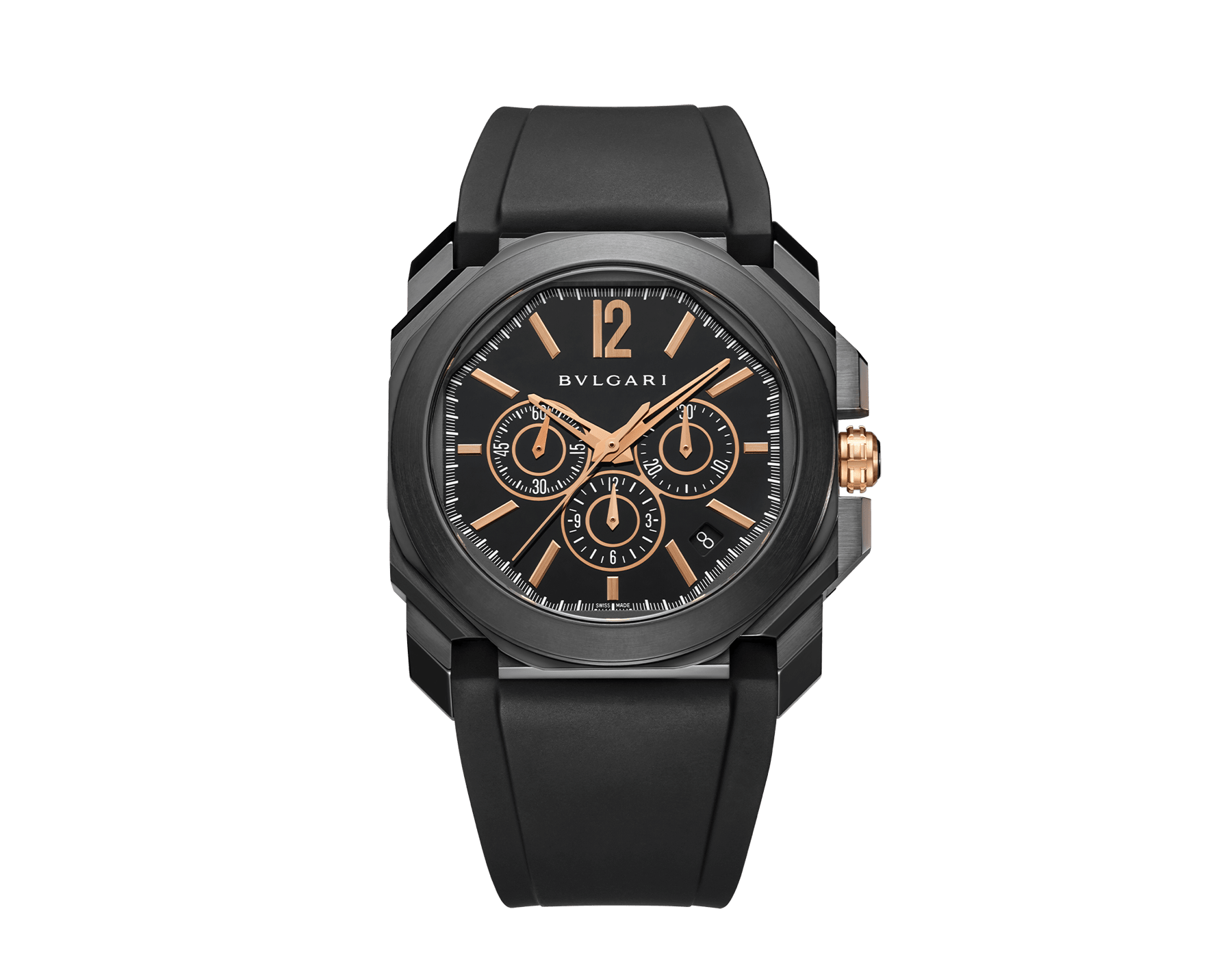 Octo watch with mechanical manufacture movement, high-frequency chronograph, automatic winding and date, stainless steel case treated with black Diamond Like Carbon, black lacquered dial and black rubber bracelet. 102630 image 1