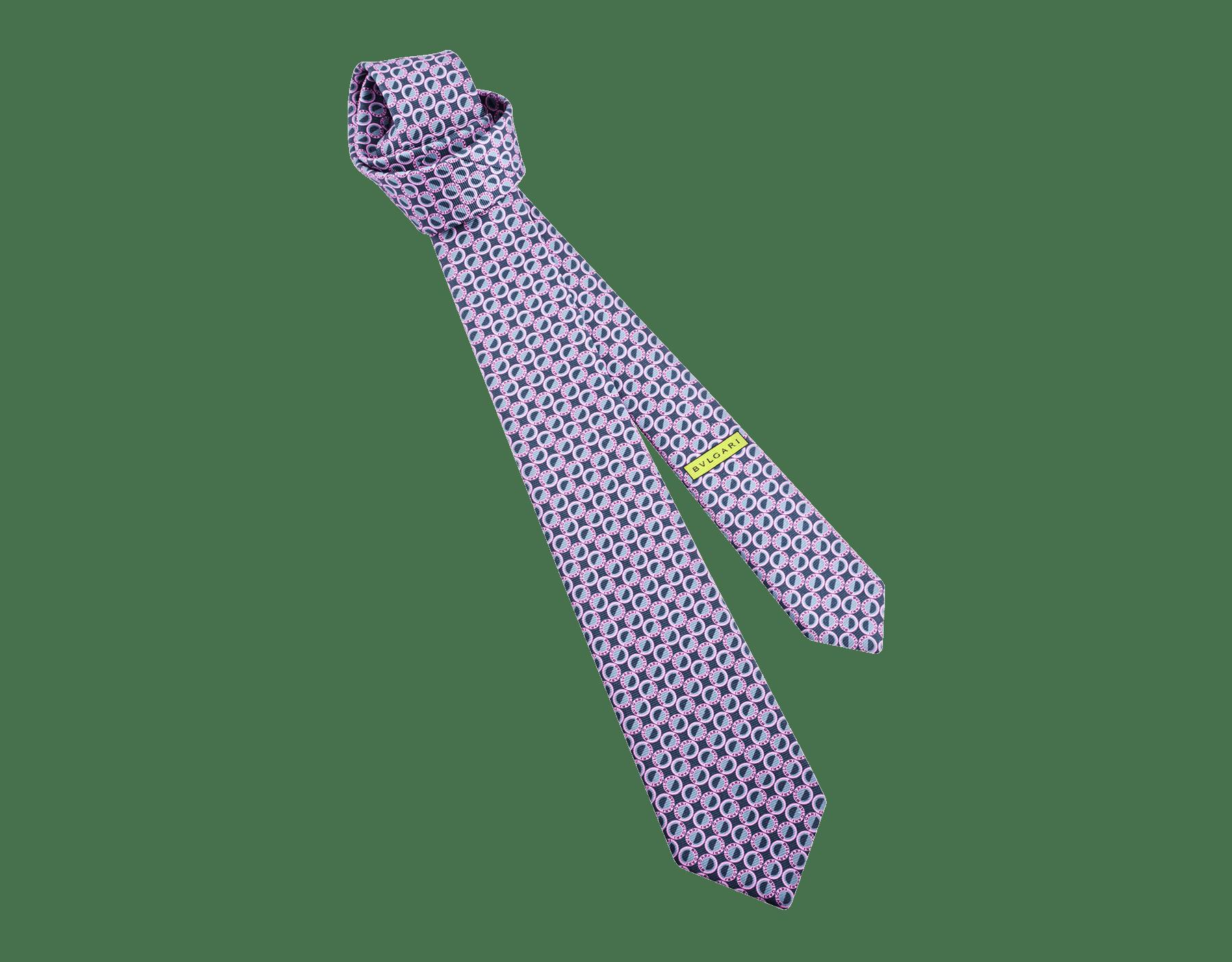 Cravate sept plis Logo Moonphase anthracite en fine serge de soie imprimée. 243613 image 1