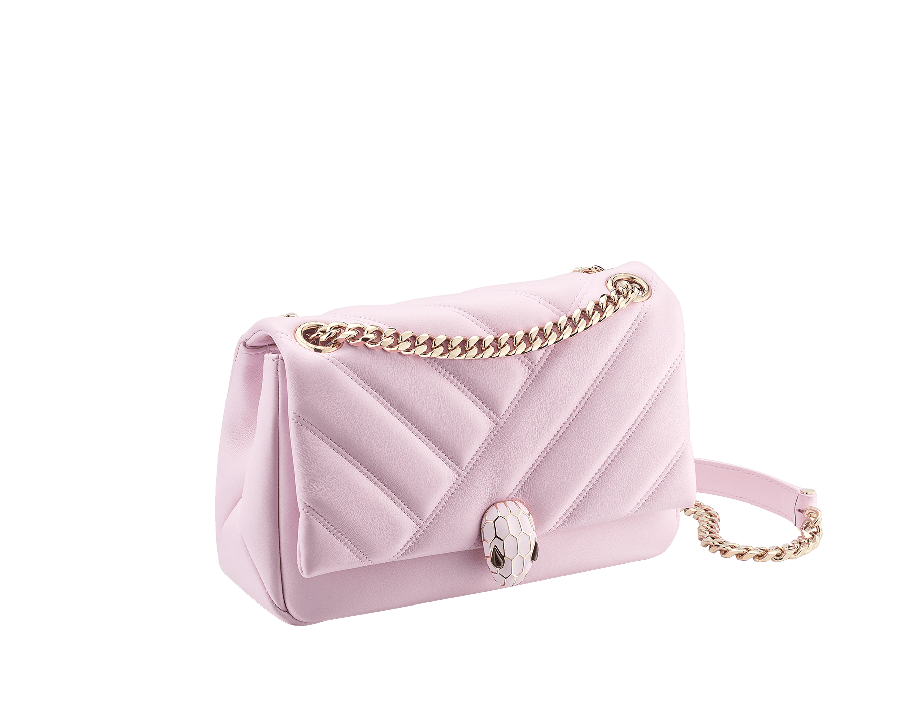 Serpenti Cabochon shoulder bag in soft matelassé rosa di francia nappa leather, with a graphic motif and rosa di francia calf leather. Brass light gold plated seductive snakehead closure in matt rosa di francia, shiny rosa di francia enamel and black onyx eyes. 288720 image 2