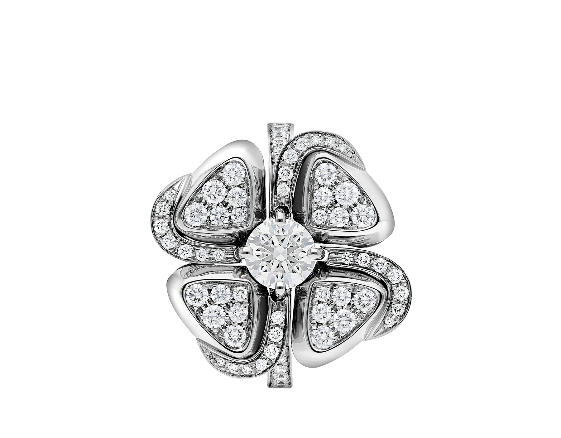 Fiorever 18 kt white gold ring set with a central diamond and pavé diamonds. AN858138 image 2