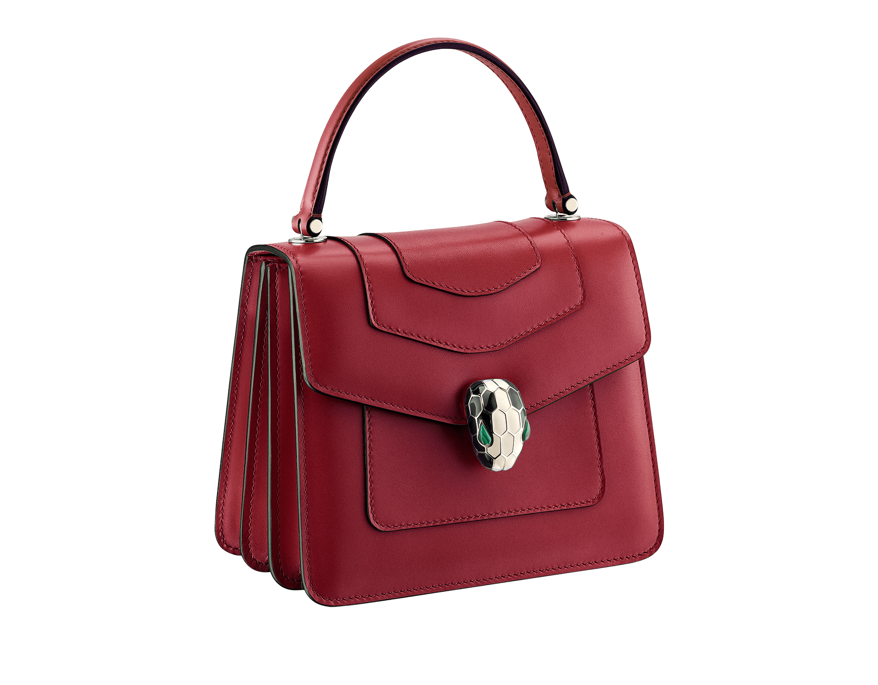 "Flap cover bag ""Serpenti Forever"" in Roman garnet calf leather. Brass light gold plated hardware and snake head closure in black and white enamel with eyes in green malachite. 752-CLe image 2"