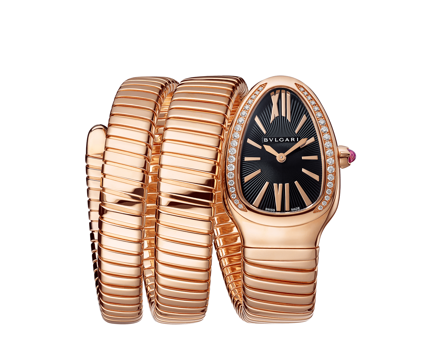 Serpenti Tubogas double spiral watch with 18 kt rose gold case set with brilliant cut diamonds, black opaline dial and 18 kt rose gold bracelet. 101814 image 1