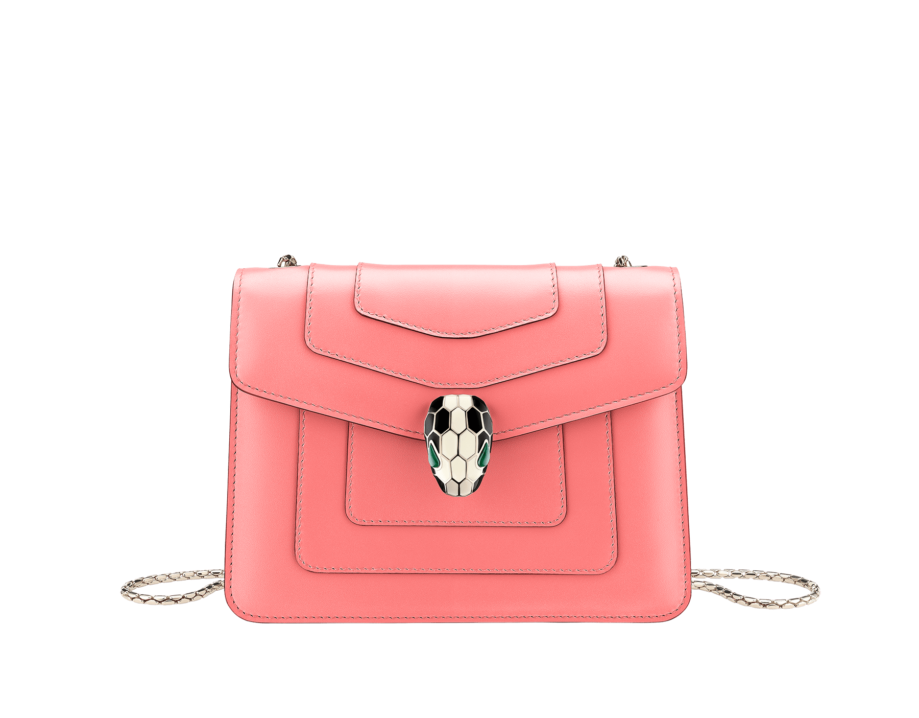"""Serpenti Forever"" crossbody bag in silky coral calf leather. Iconic snakehead closure in light gold plated brass enriched with black and white enamel and green malachite eyes. 288700 image 1"