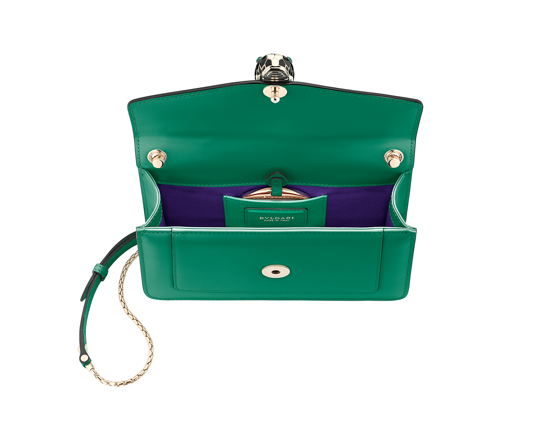 Shoulder bag in Serpenti Forever emerald green calf leather with brass light gold plated Serpenti head closure in black and white enamel with eyes in malachite. 38065 image 4