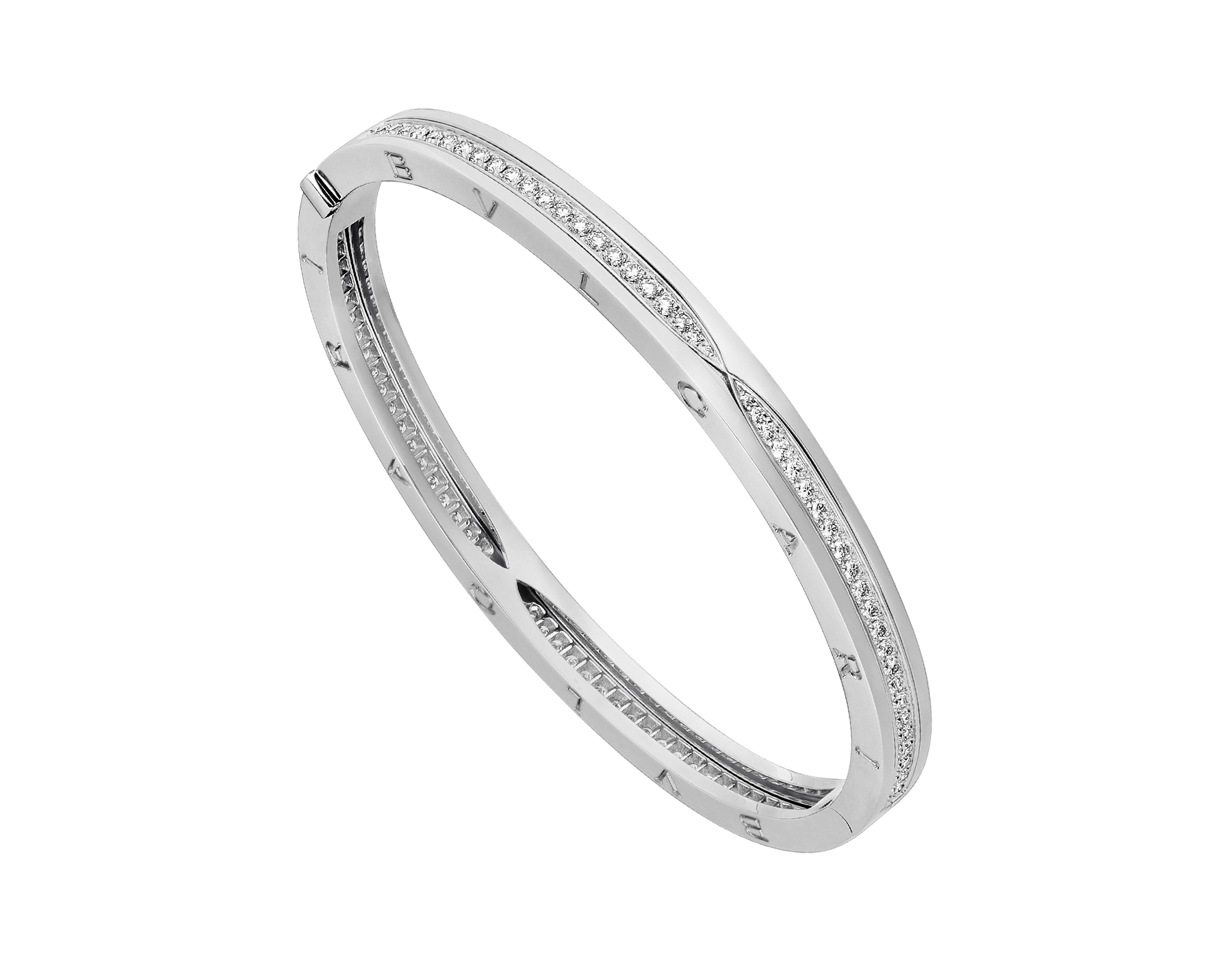 B.zero1 bangle bracelet in 18 kt white gold, set with pavé diamonds on the spiral. BR857483 image 1