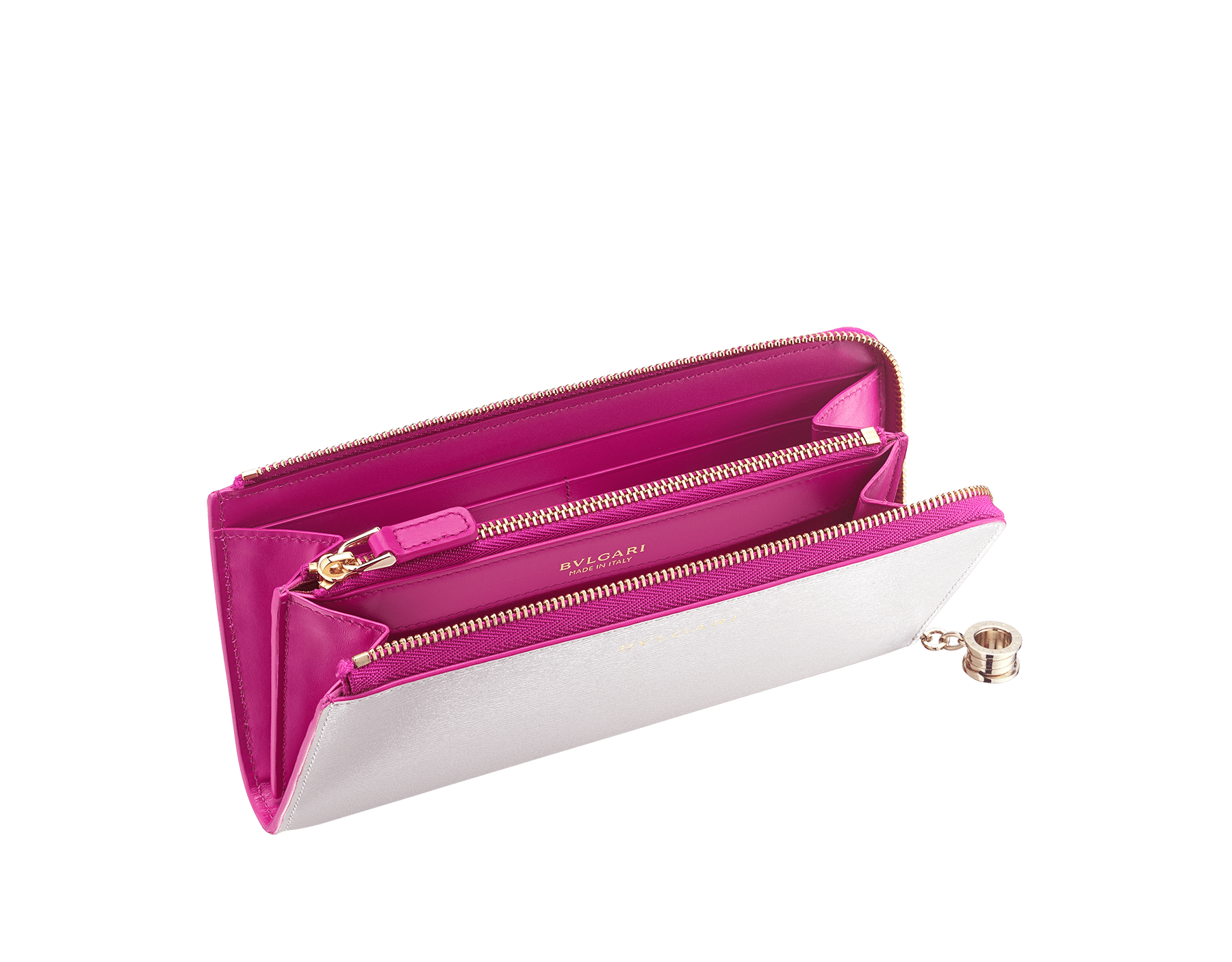"""B.zero1"" large L-shaped zipped wallet in white agate and berry tourmaline goatskin and berry tourmaline calf leather. Iconic B.zero1 zip puller in light gold-plated brass. 289785 image 2"