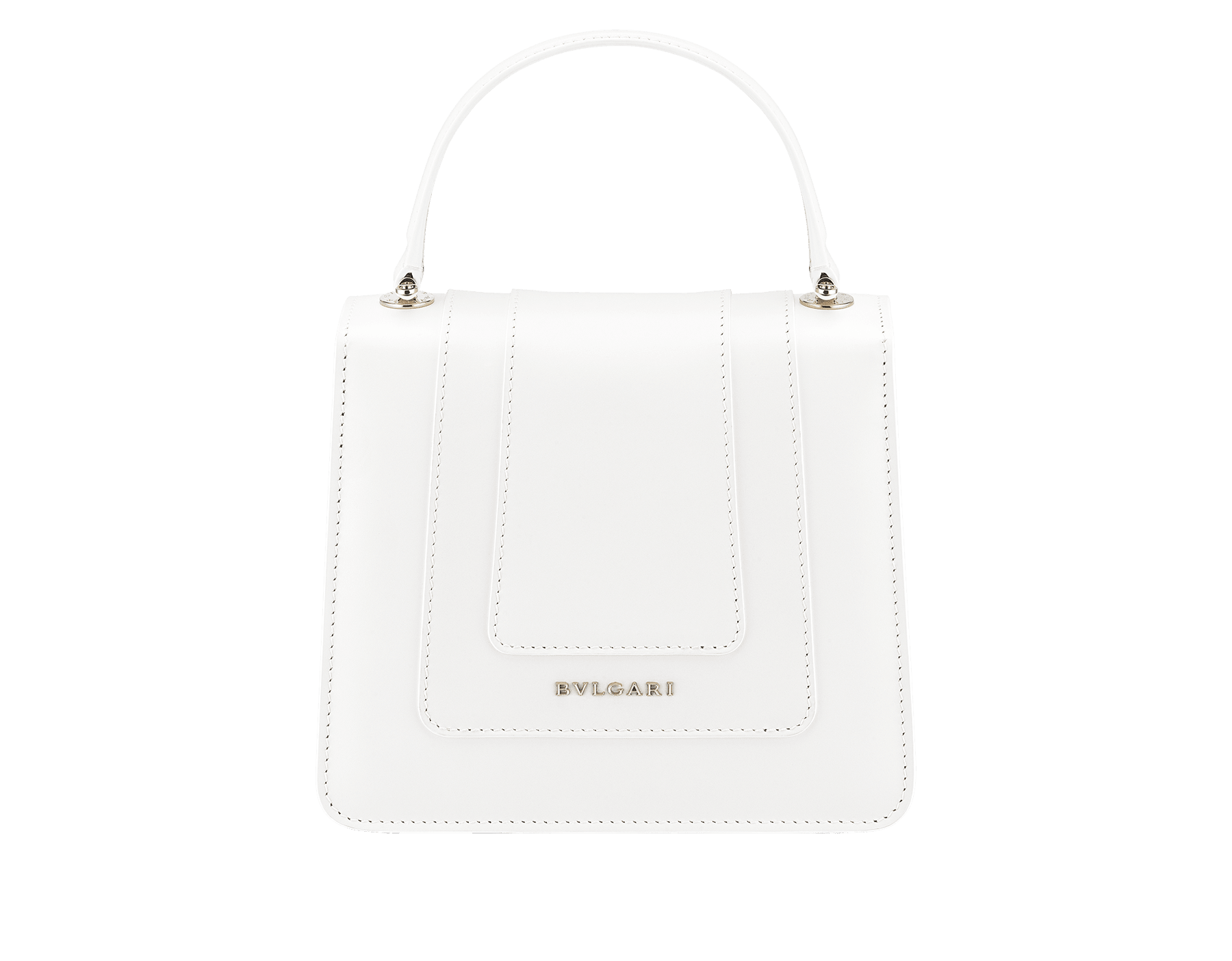 """Serpenti Forever "" crossbody bag in white calf leather body and white agate and crystal rose calf leather sides. Iconic snake head closure in light gold plated brass enriched with white and crystal rose enamel and black onyx eyes. 752-MCLa image 3"