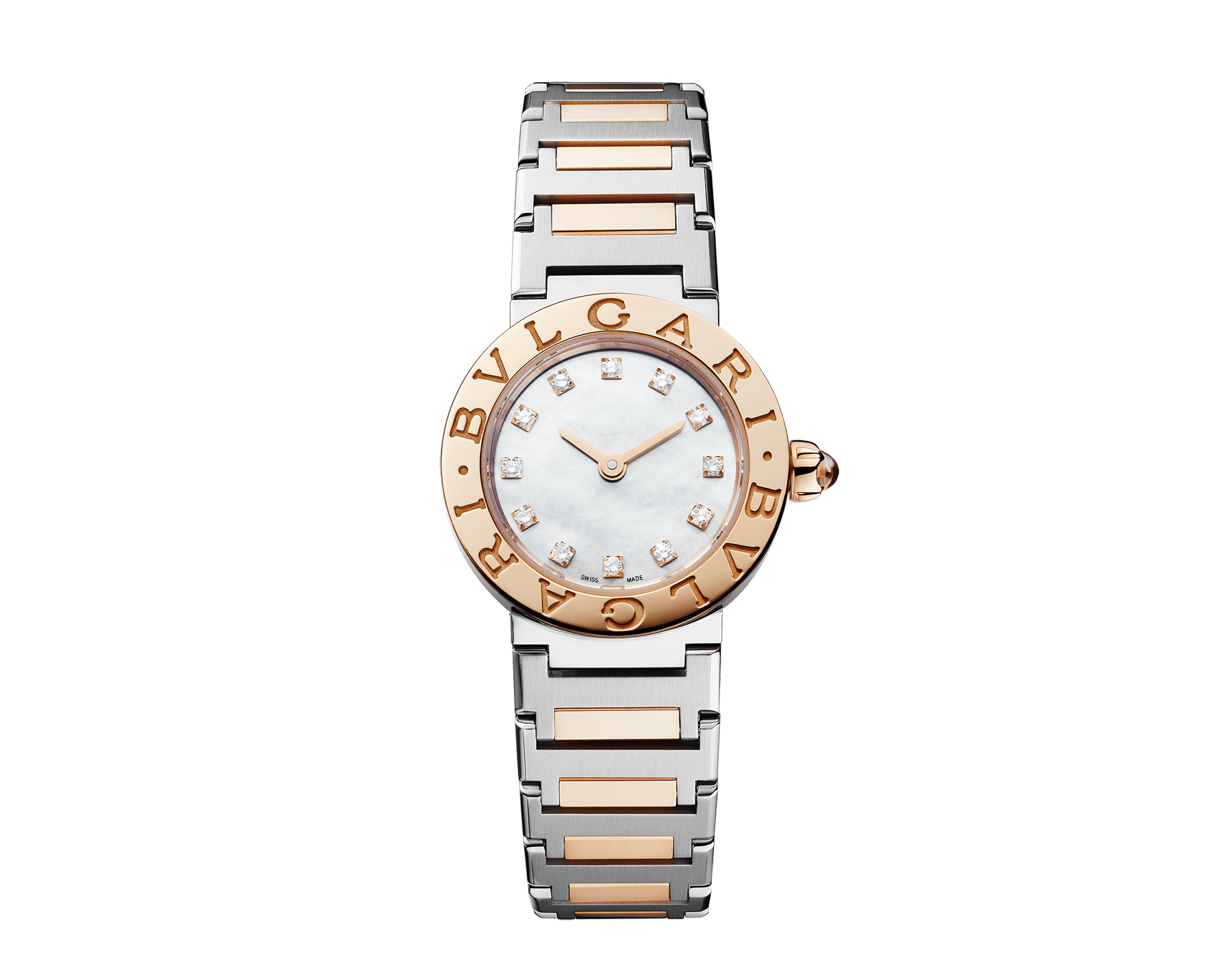 BVLGARI BVLGARI LADY watch with stainless steel case, 18 kt rose gold bezel engraved with double logo, white mother-of-pearl dial, diamond indexes and 18 kt rose gold and stainless steel bracelet 102970 image 1