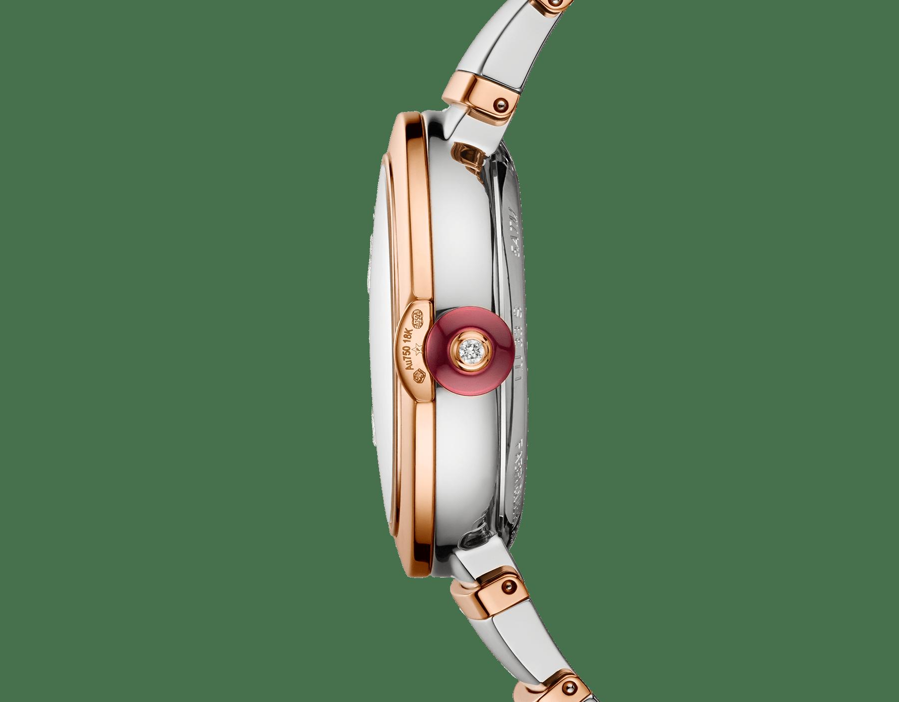 Montre LVCEA avec boîtier et bracelet en or rose 18K et acier inoxydable, cadran en opaline noire. 102192 image 3
