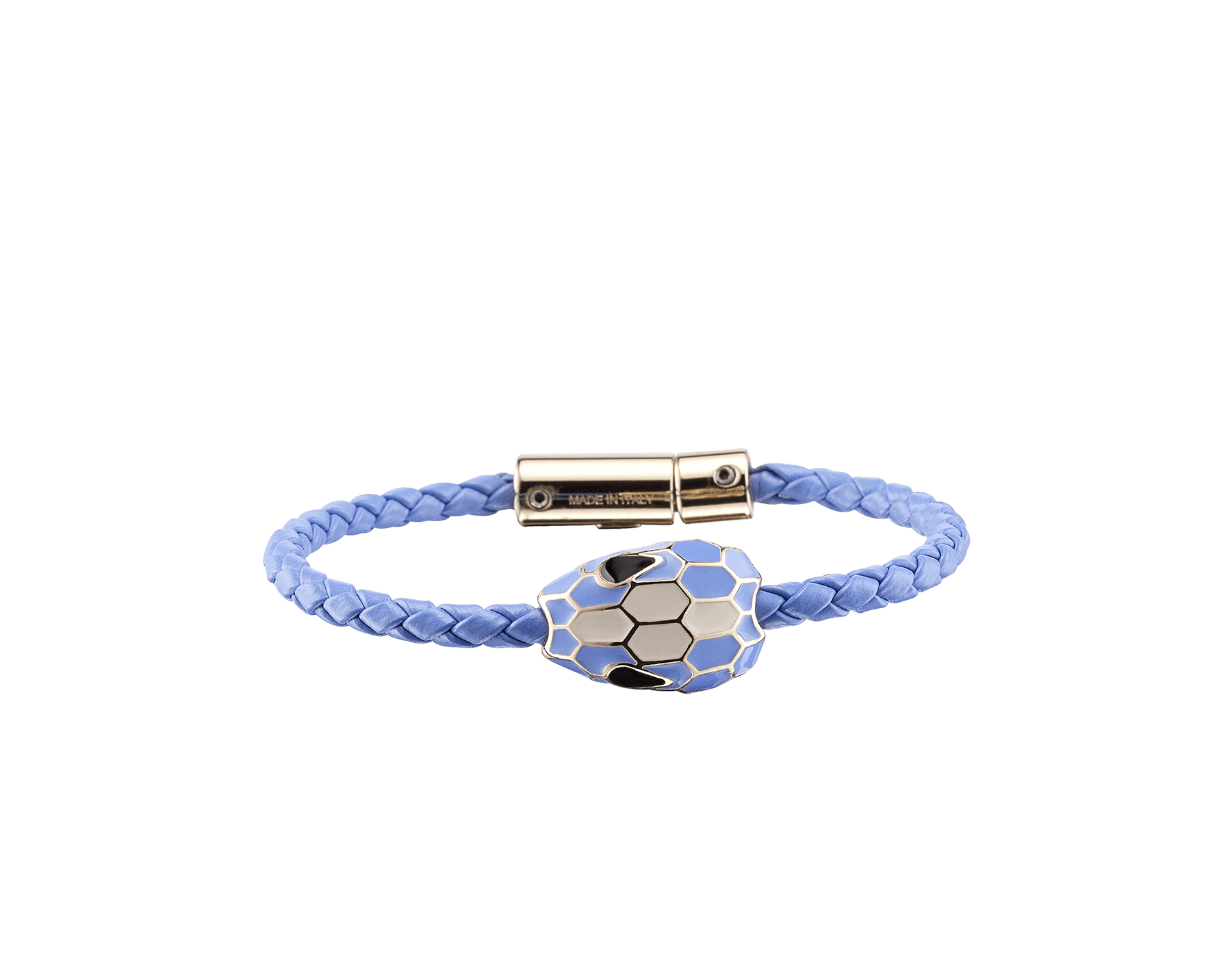 """""""Serpenti Forever"""" bracelet in Lavender Amethyst lilac braided calf leather and light gold-plated brass snake body-shaped chain with the alluring snakehead charm in Lavender Amethyst lilac and white agate enamel, and black enamel eyes with a magnetic clasp closure. SerpBraid-WCL-LA image 1"""
