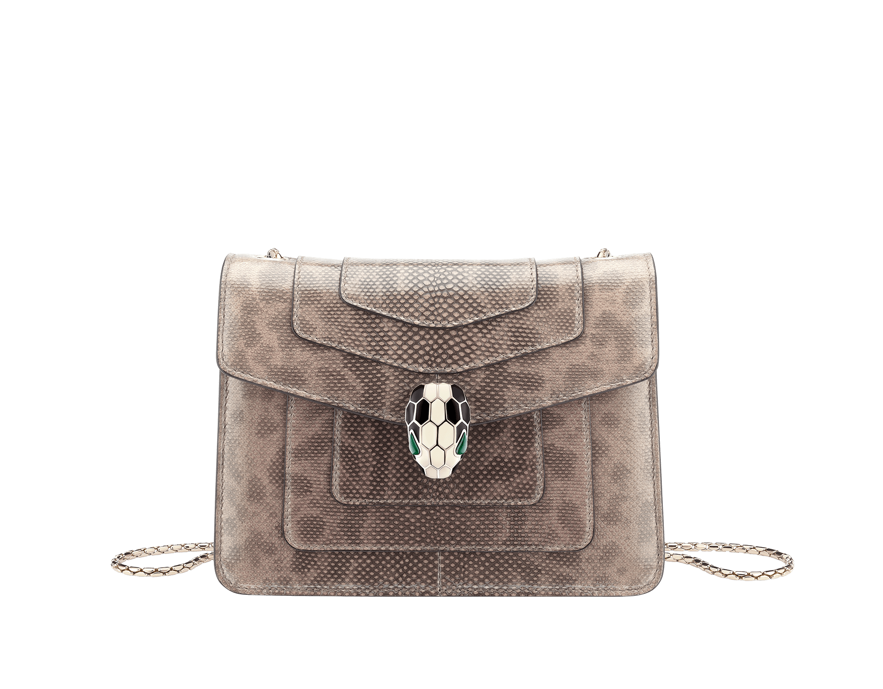 """""""Serpenti Forever"""" crossbody bag in mint shiny karung skin. Iconic snakehead closure in light gold plated brass enriched with black and white enamel, and green malachite eyes. 422-SK image 1"""