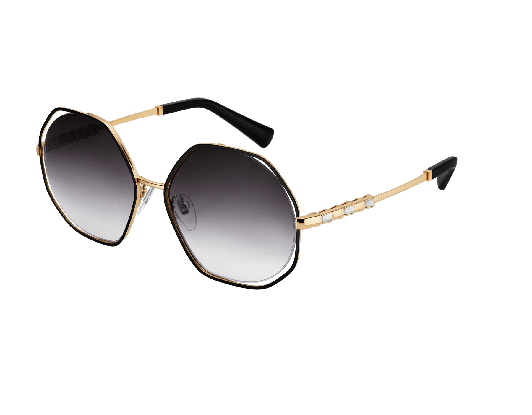 "Le Gemme Serpenti ""Spell"" gold plated irregular rounded sunglasses with mother-of-pearl inserts. 904046 image 1"