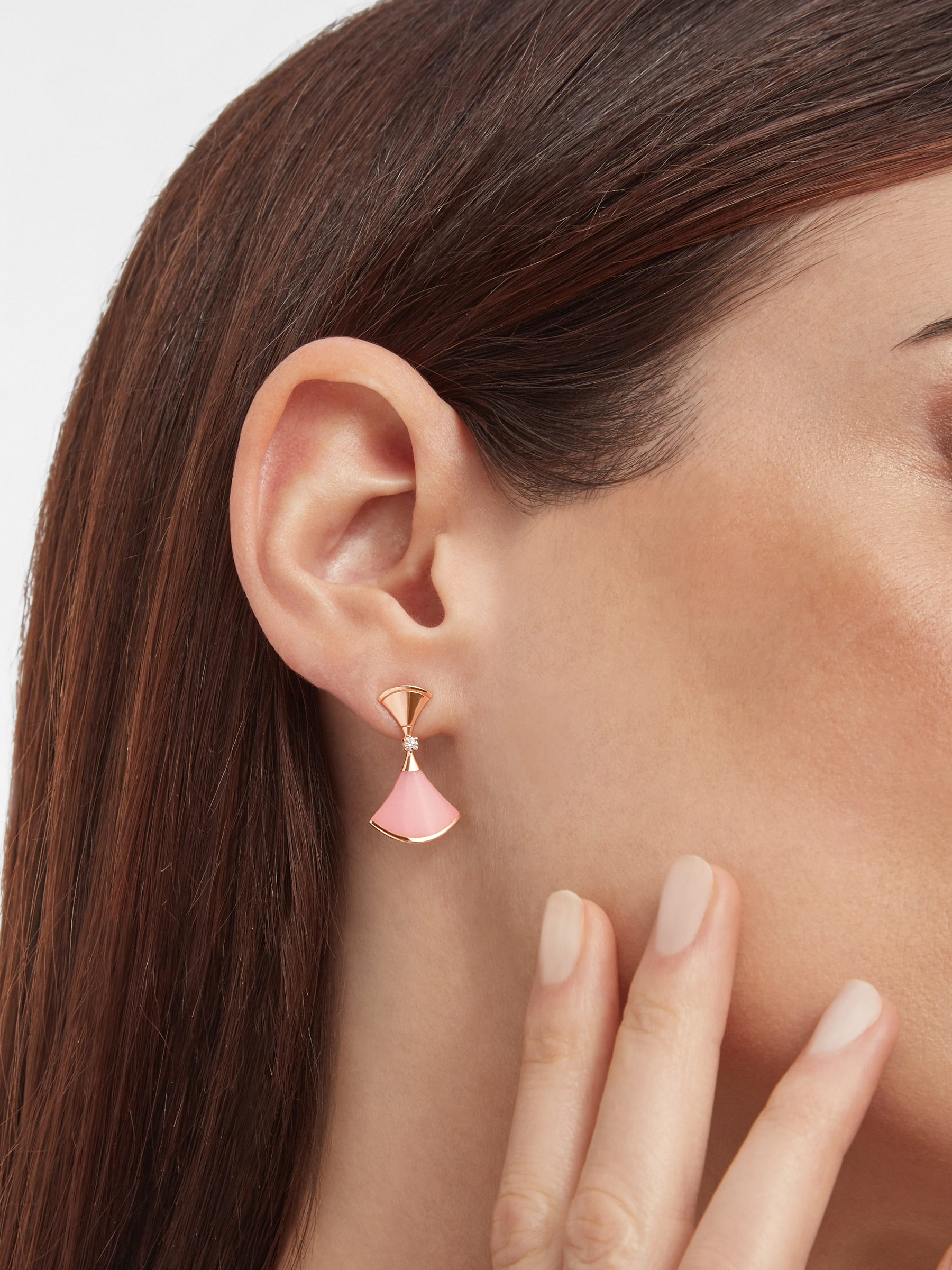DIVAS' DREAM earrings in 18 kt rose gold set with pink opal inserts and pavé diamonds 357862 image 3