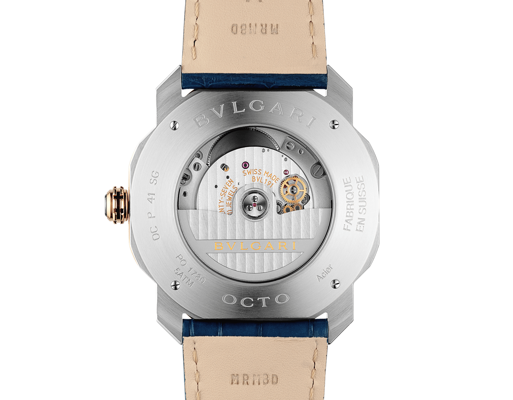 Octo Roma watch with mechanical manufacture movement, automatic winding, stainless steel and 18 kt rose gold case, blue dial and blue alligator bracelet. Water resistant up to 50 metres 103205 image 4