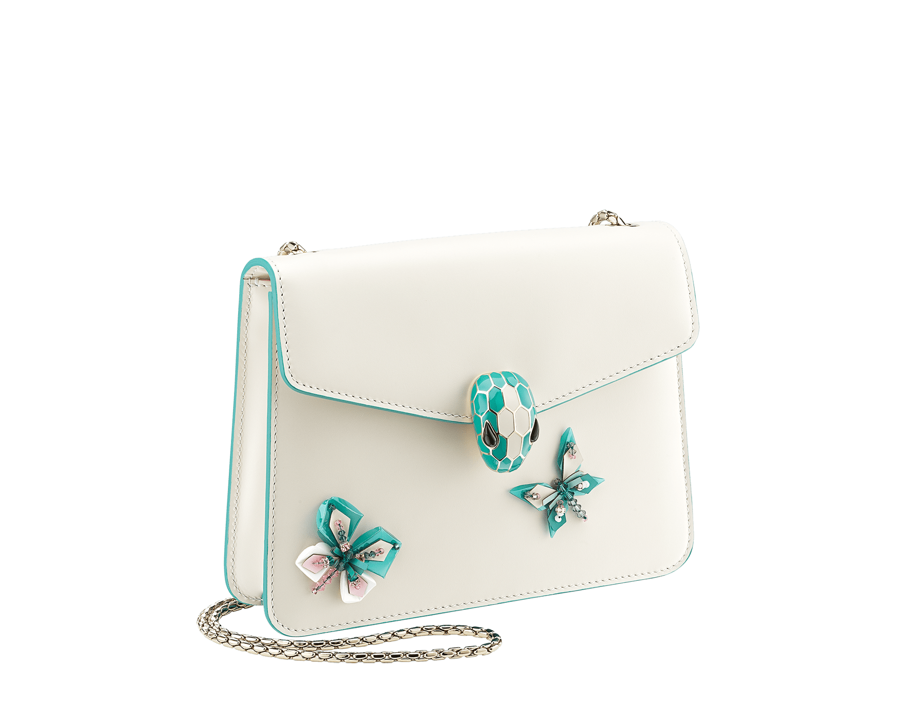 """Serpenti Forever"" crossbody bag in white agate calf leather with two arctic jade butterflies embroidered. Iconic snakehead closure in light gold plated brass enriched with arctic jade and white agate enamel and black onyx eyes. 289247 image 2"