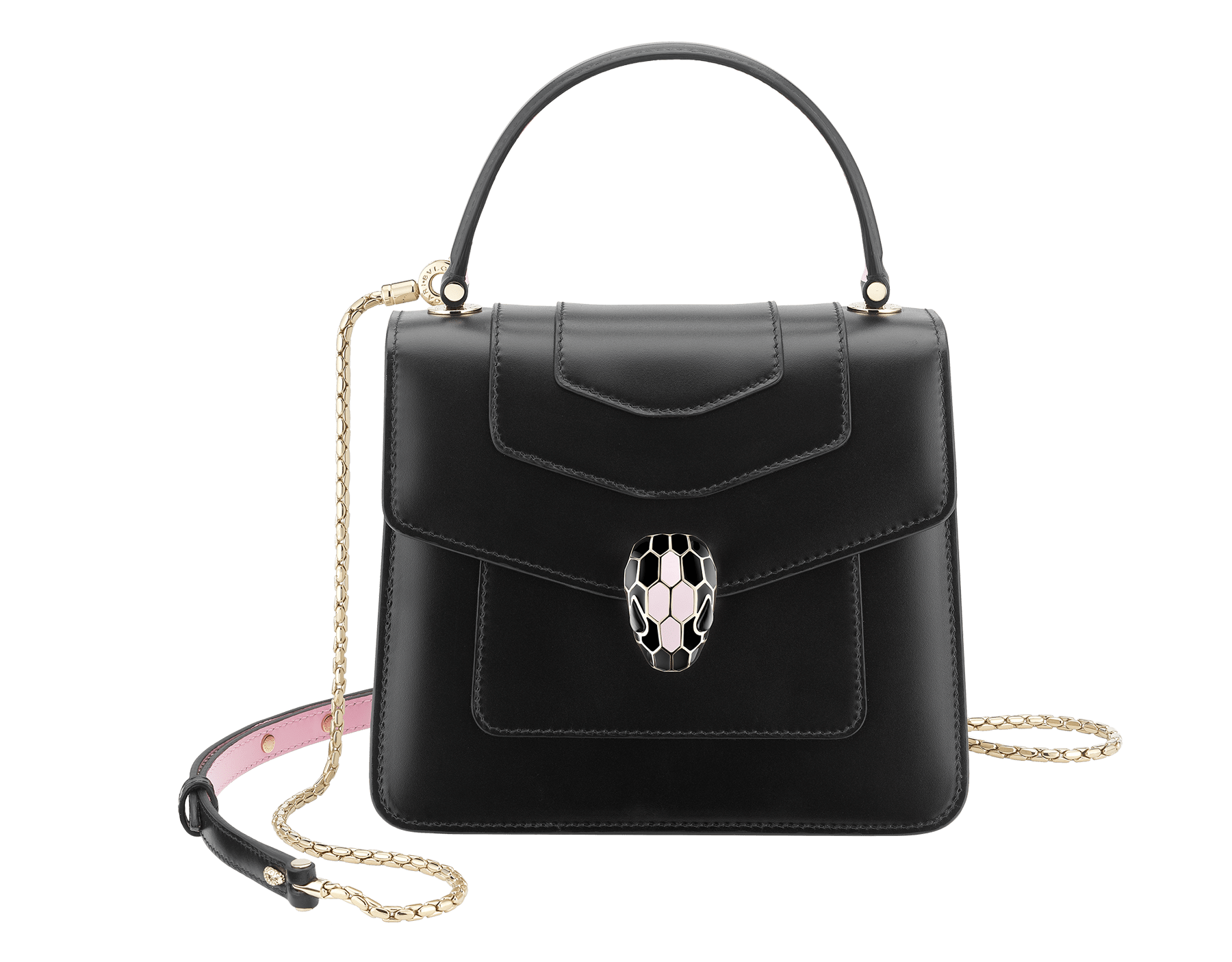 """""""Serpenti Forever """" crossbody bag in white calf leather body and white agate and crystal rose calf leather sides. Iconic snakehead closure in light gold plated brass enriched with white and crystal rose enamel and black onyx eyes. 752-MCLa image 1"""