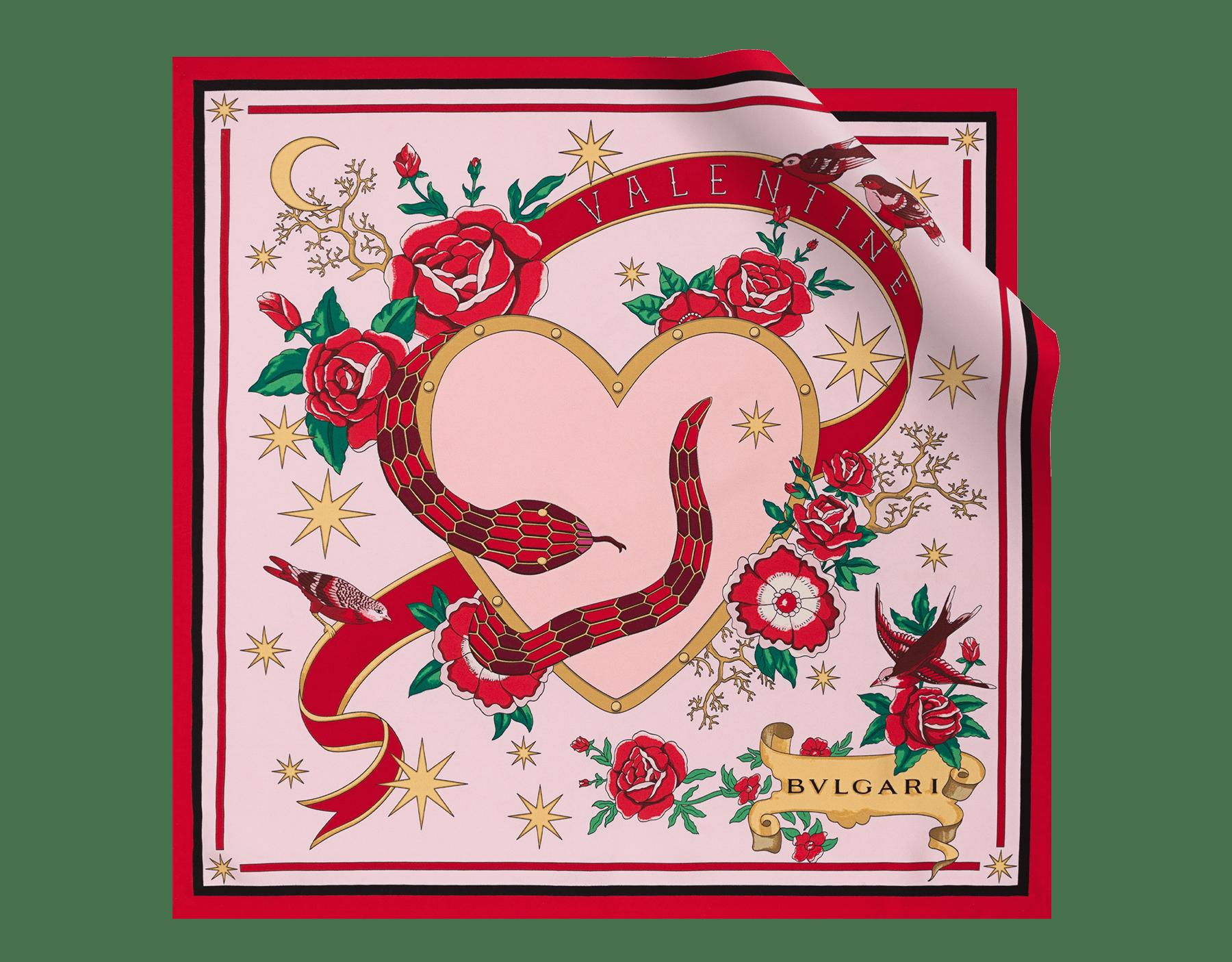 Serpenti Forever Celebration Edition scarf in rosa di Francia fine silk twill. 244298 image 1