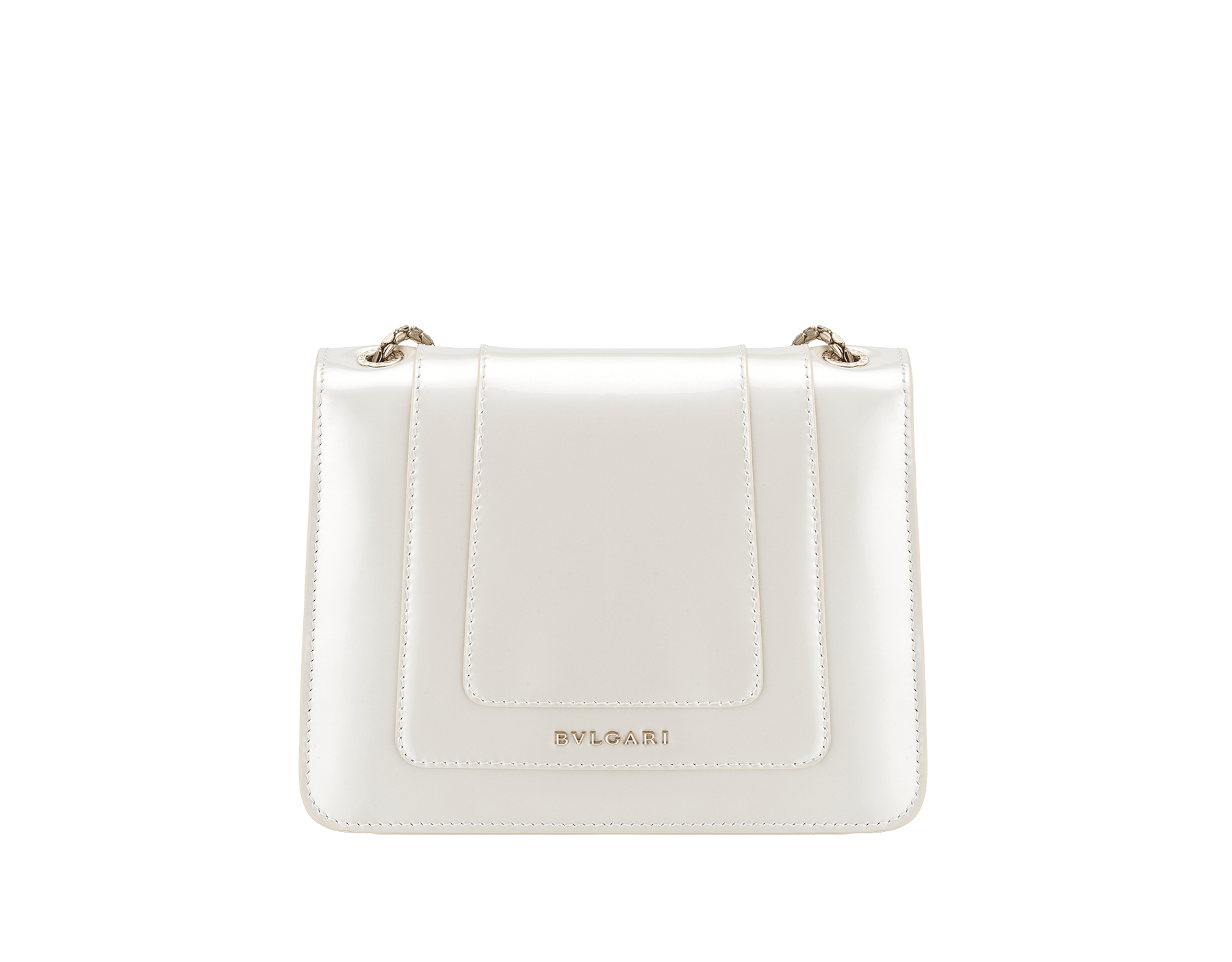 """Serpenti Forever"" crossbody bag in white agate calf leather with a varnished and pearled effect. Iconic snakehead closure in light gold plated brass enriched with black and pearled white agate enamel, and black onyx eyes 289769 image 3"