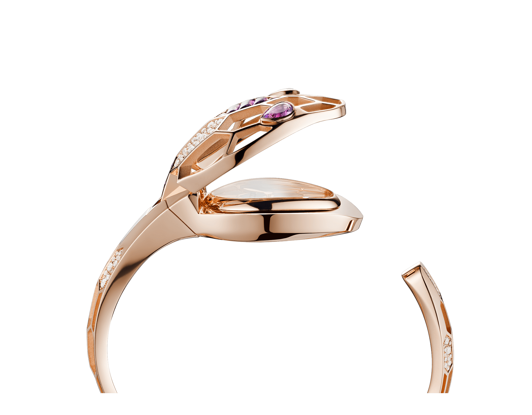 Serpenti Misteriosi Secret Watch in 18 kt rose gold case and bracelet both set with round brilliant-cut diamonds and baguette-cut amethysts, mother-of-pearl dial and pear shaped amethyst eyes. Medium size 103056 image 3