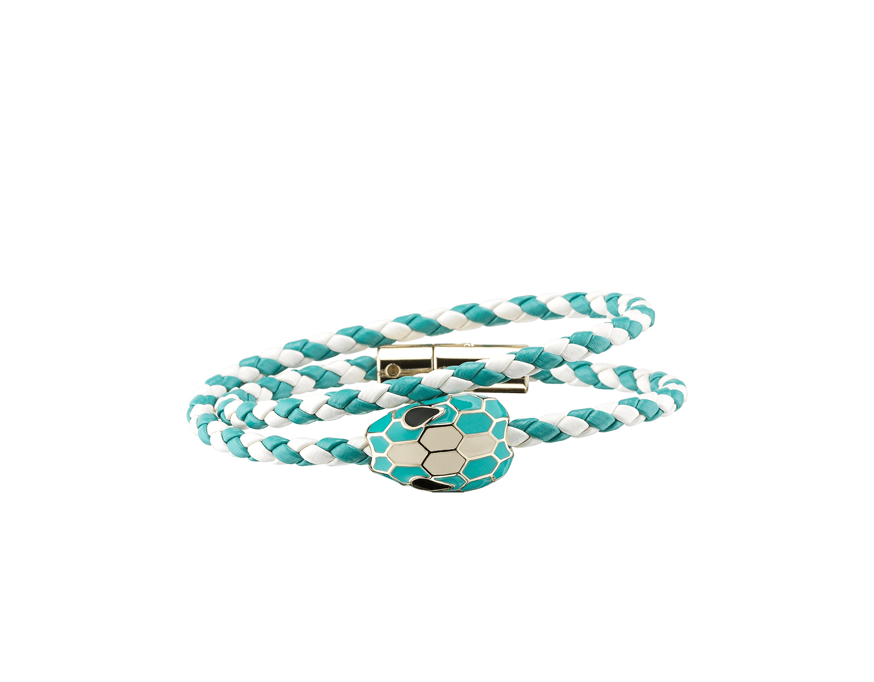 Serpenti Forever multi-coiled braid bracelet inwhite agate and arctic jade woven calf leather, with the iconic snakehead décor in arctic jade and white agate enamel. SerpDoubleBraid-WCL-WAAJ image 1