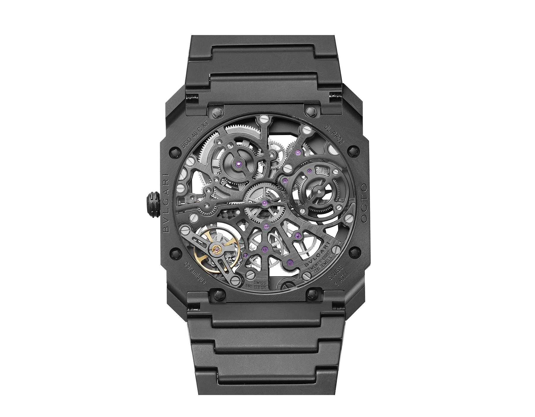Octo Finissimo Skeleton watch in black ceramic with extra-thin skeletonised mechanical manufacture movement, manual winding, small seconds and power reserve indication. Water-resistant up to 30 metres. 103126 image 2