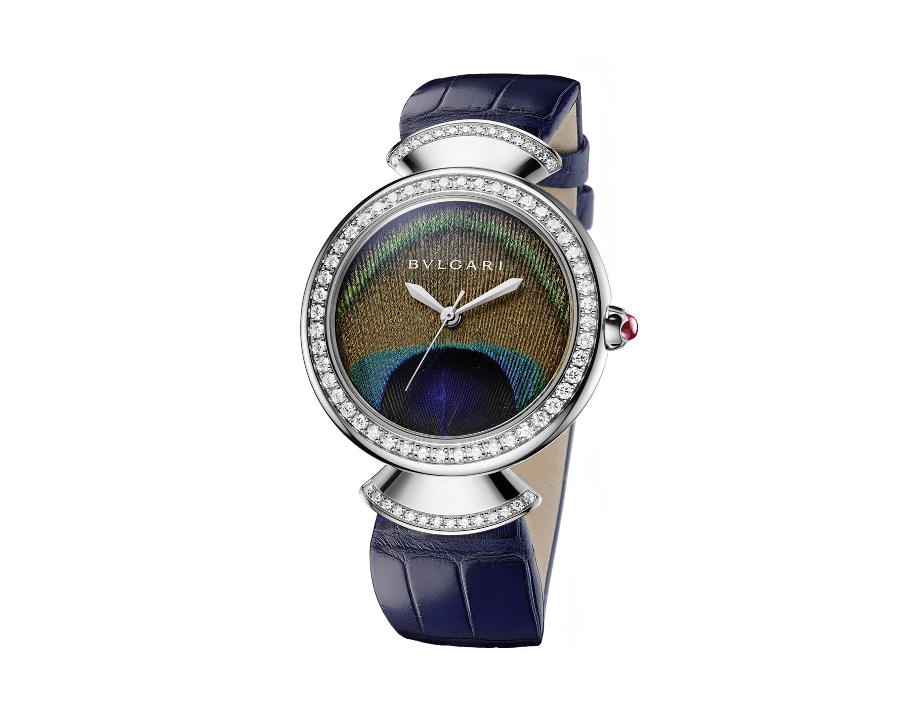 DIVAS' DREAM watch with mechanical manufacture movement, automatic winding, 18 kt white gold case, 18 kt white gold bezel and fan-shaped links both set with brilliant-cut diamonds, natural peacock feather dial and blue alligator bracelet 103263 image 2