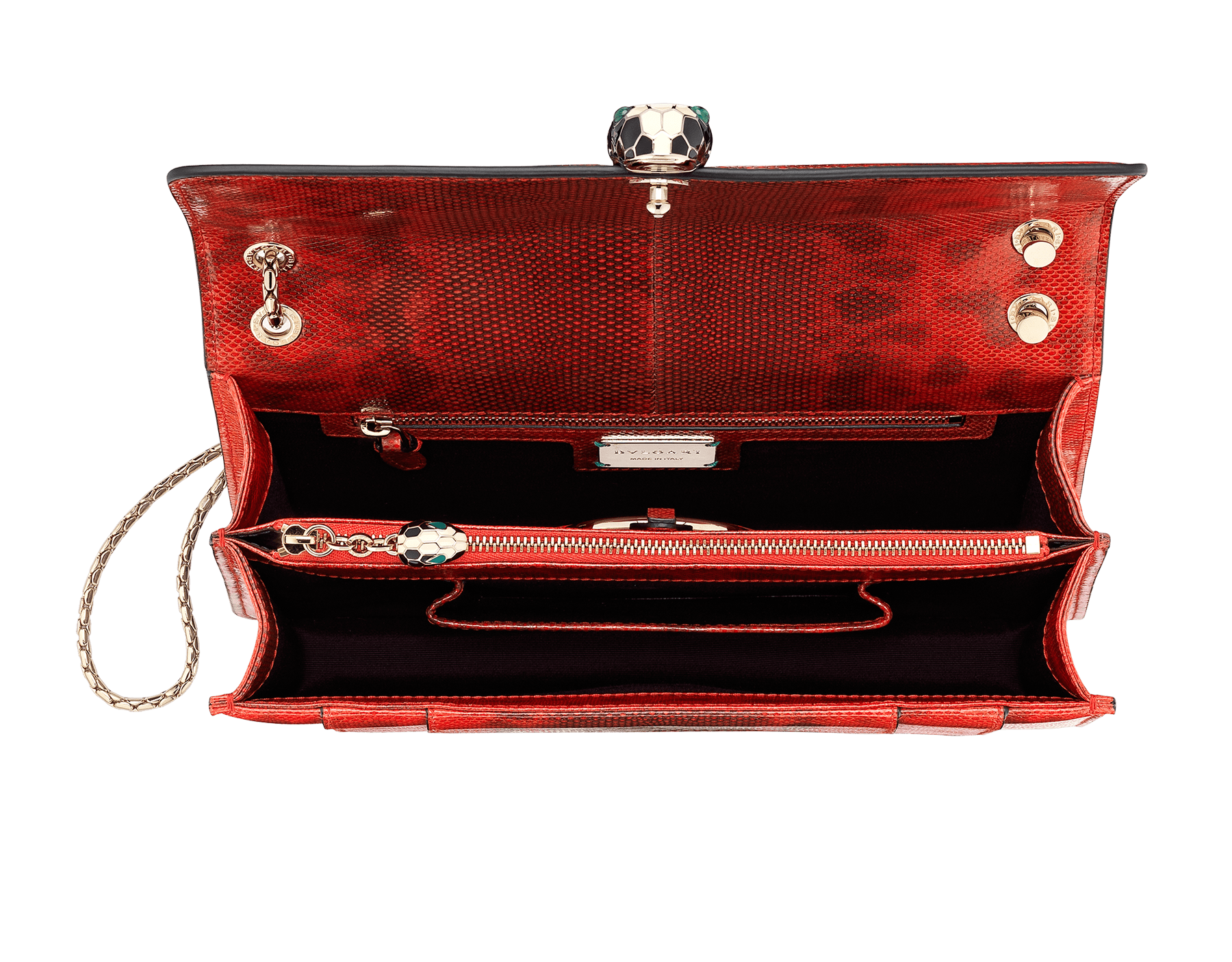 Serpenti Forever shoulder bag in sea star coral shiny karung skin. Snakehead closure in light gold plated brass decorated with black and white enamel, and green malachite eyes. 287918 image 4