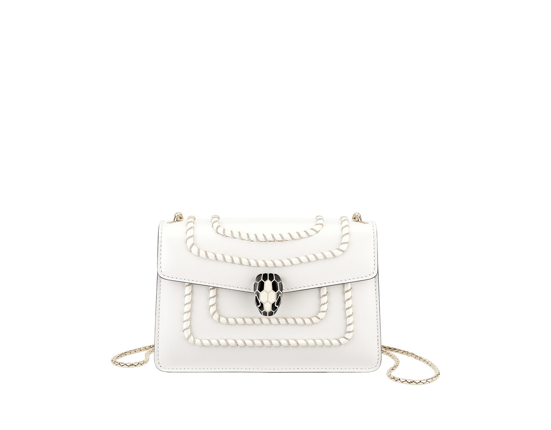 Serpenti Forever mini crossbody bag in white agate calf leather with woven chain décor. Brass light gold-plated snake head closure in black and white enamel, with black onyx eyes. 288045 image 1