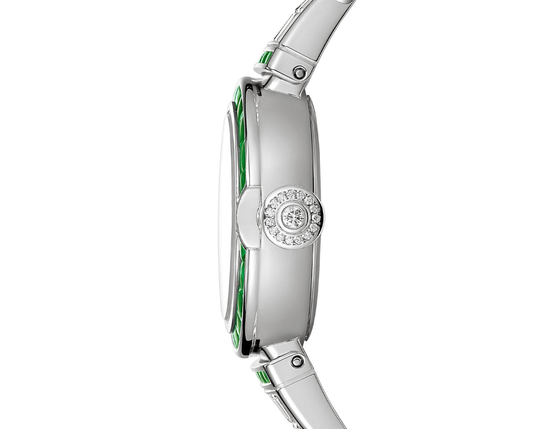 LVCEA watch in 18kt white gold case and bracelet, both set with baguette diamonds and emeralds and full diamond dial. 102466 image 3