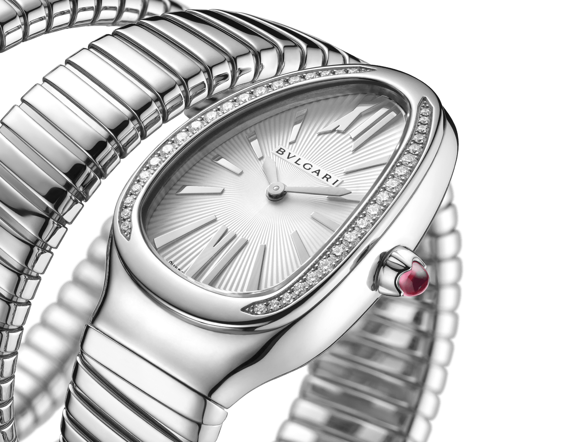 Serpenti Tubogas double spiral watch in stainless steel case and bracelet, bezel set with brilliant cut diamonds and silver opaline dial. 101910 image 3