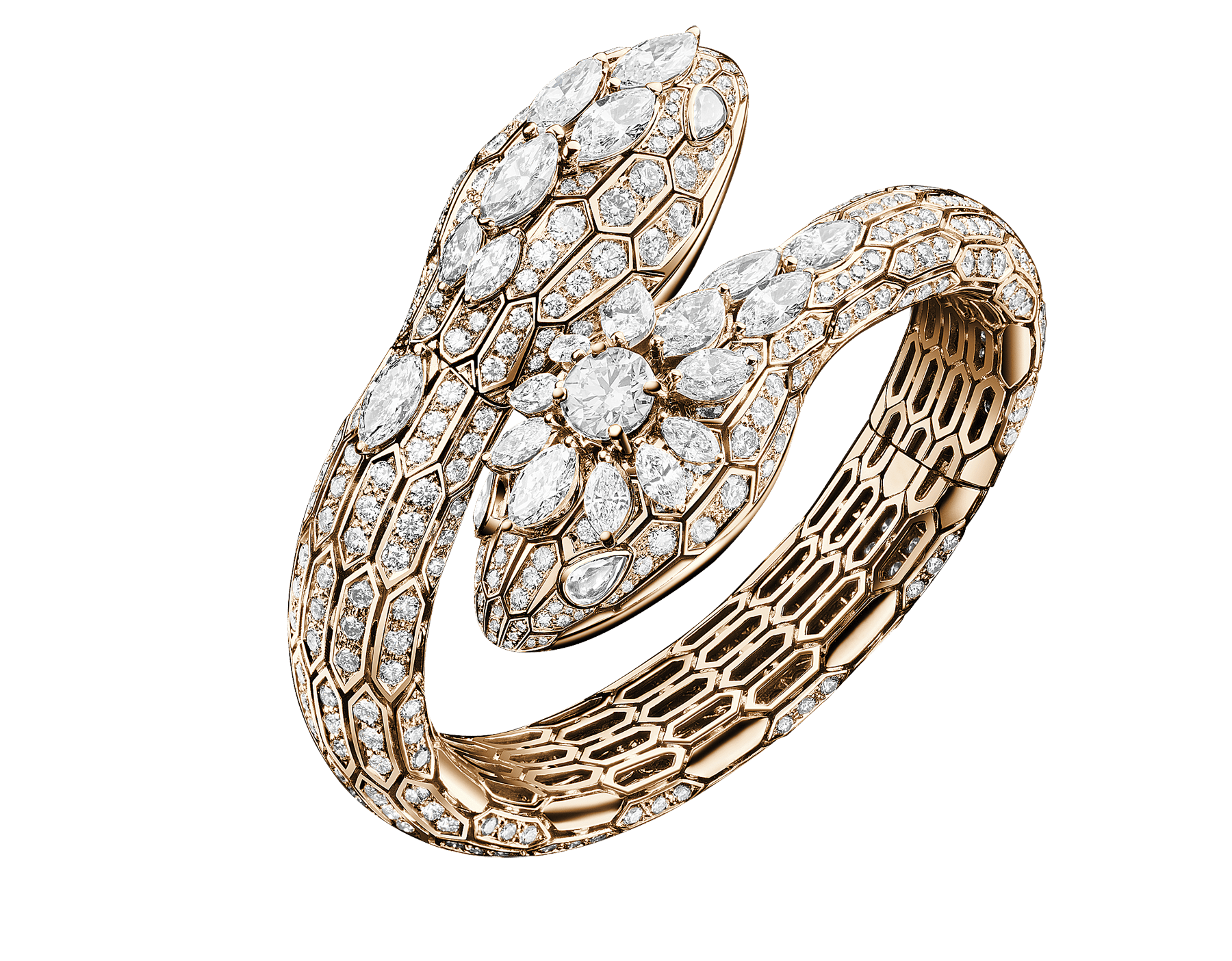 Serpenti Secret Watch with two 18 kt rose gold heads set with round brilliant-cut and marquise-shaped diamonds, one round brilliant-cut diamond and pear-shaped diamond eyes, 18 kt rose gold case and 18 kt rose gold bracelet set with brilliant-cut diamonds 102816 image 1