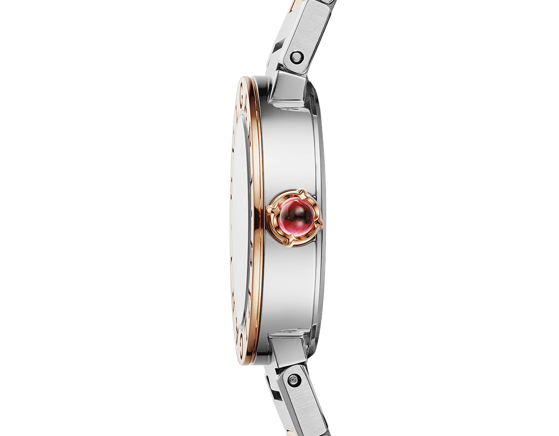 BVLGARI BVLGARI watch in 18 kt rose gold and stainless steel case and bracelet, 18 kt rose gold bezel engraved with double logo, brown satiné soleil lacquered dial and diamond indexes 103218 image 3