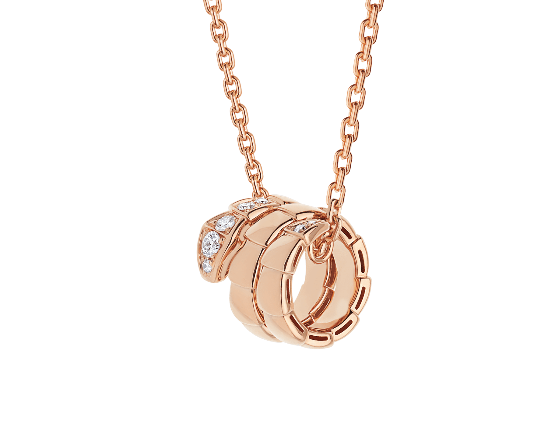 Serpenti Viper pendant necklace in 18 kt rose gold set with demi-pavé diamonds 357794 image 1