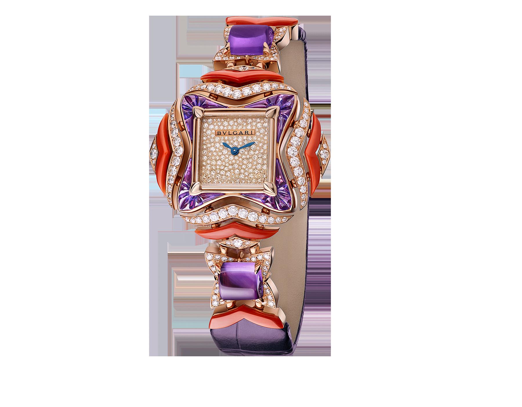 MVSA 腕錶,18K 玫瑰金錶殼和連接扣鑲飾明亮型切割鑽石、面包型和蛋面型切割紫水晶、珊瑚元素。雪花式密鑲鑽石錶盤,紫羅蘭色鱷魚皮錶帶。 102453 image 1