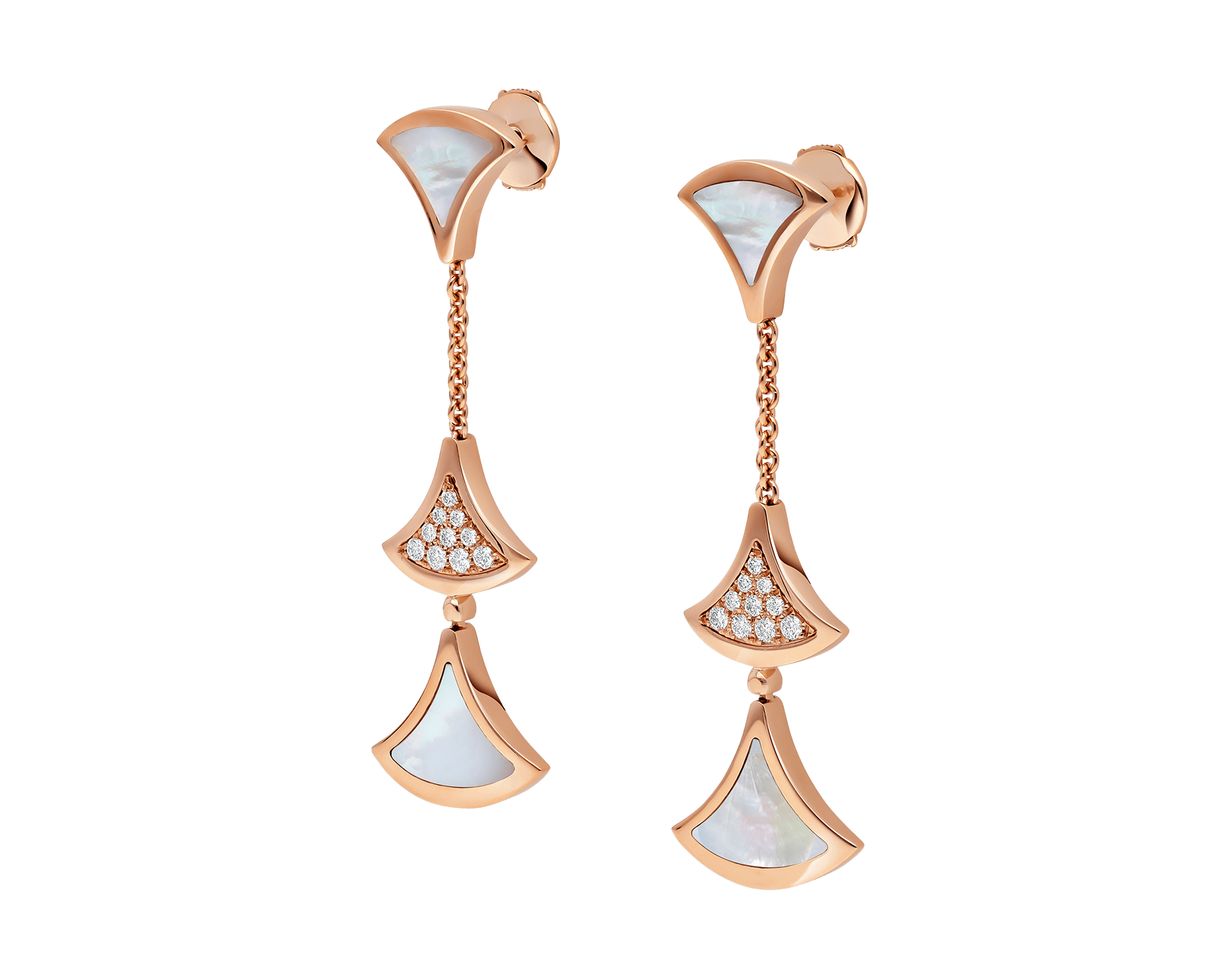 DIVAS' DREAM earrings in 18 kt rose gold, set with mother-of-pearl elements and pavé diamonds. 352603 image 2