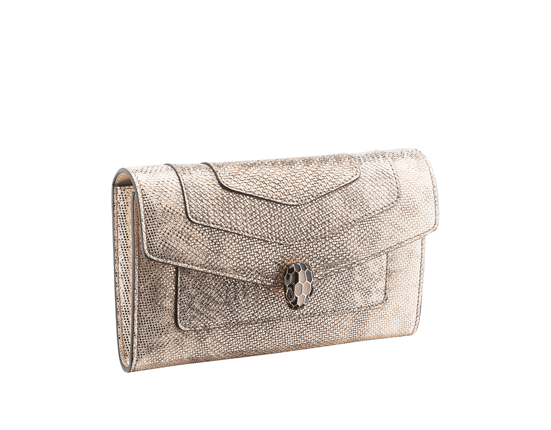 """Serpenti Forever"" new large wallet in metallic Milky Opal beige karung skin and Milky Opal beige calfskin. Alluring snakehead closure in light gold-plated brass with black and glittery Milky Opal beige enamel and black onyx eyes. 290819 image 1"